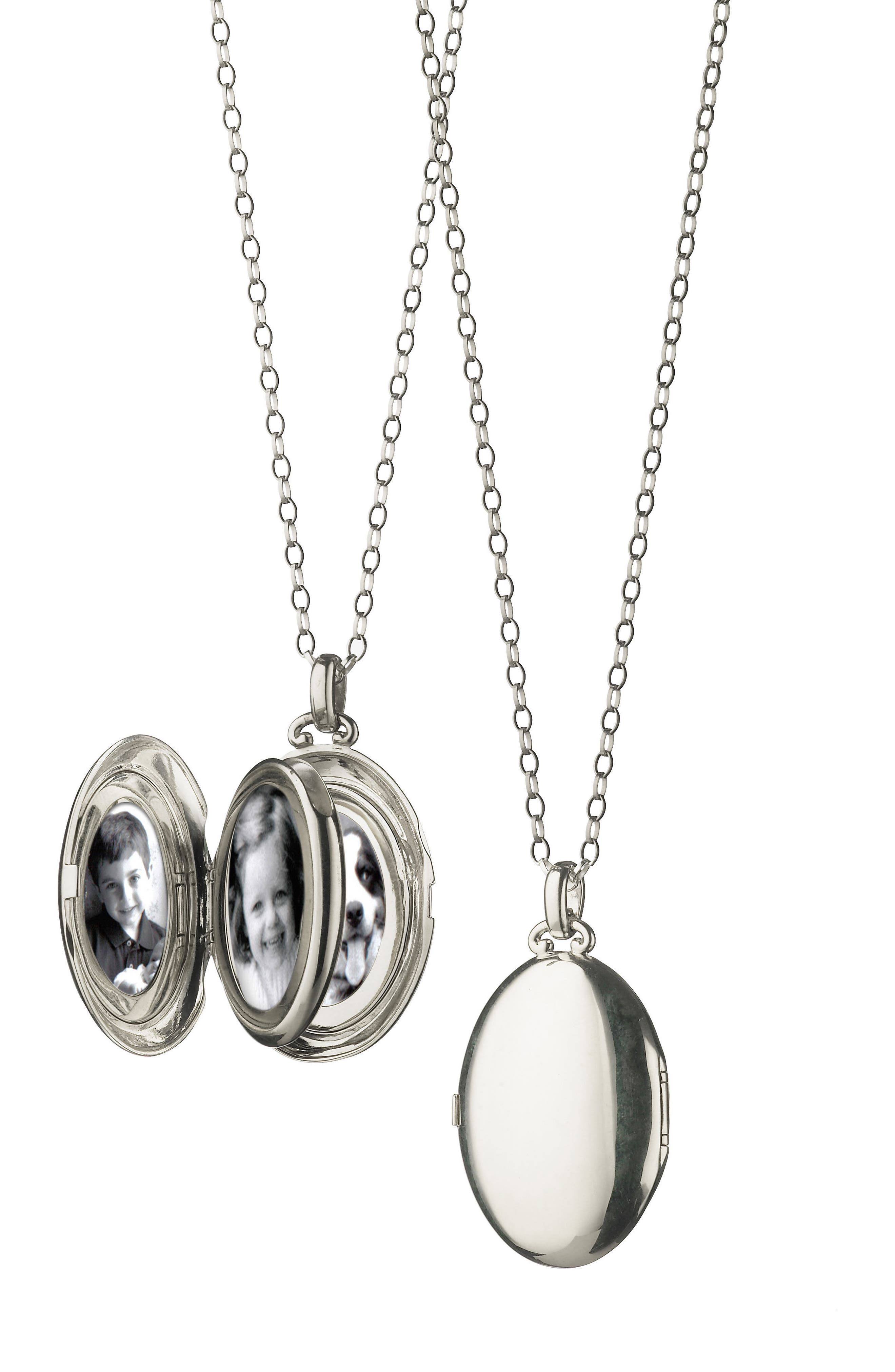 Four Image Oval Locket Necklace,                             Main thumbnail 1, color,                             Sterling Silver
