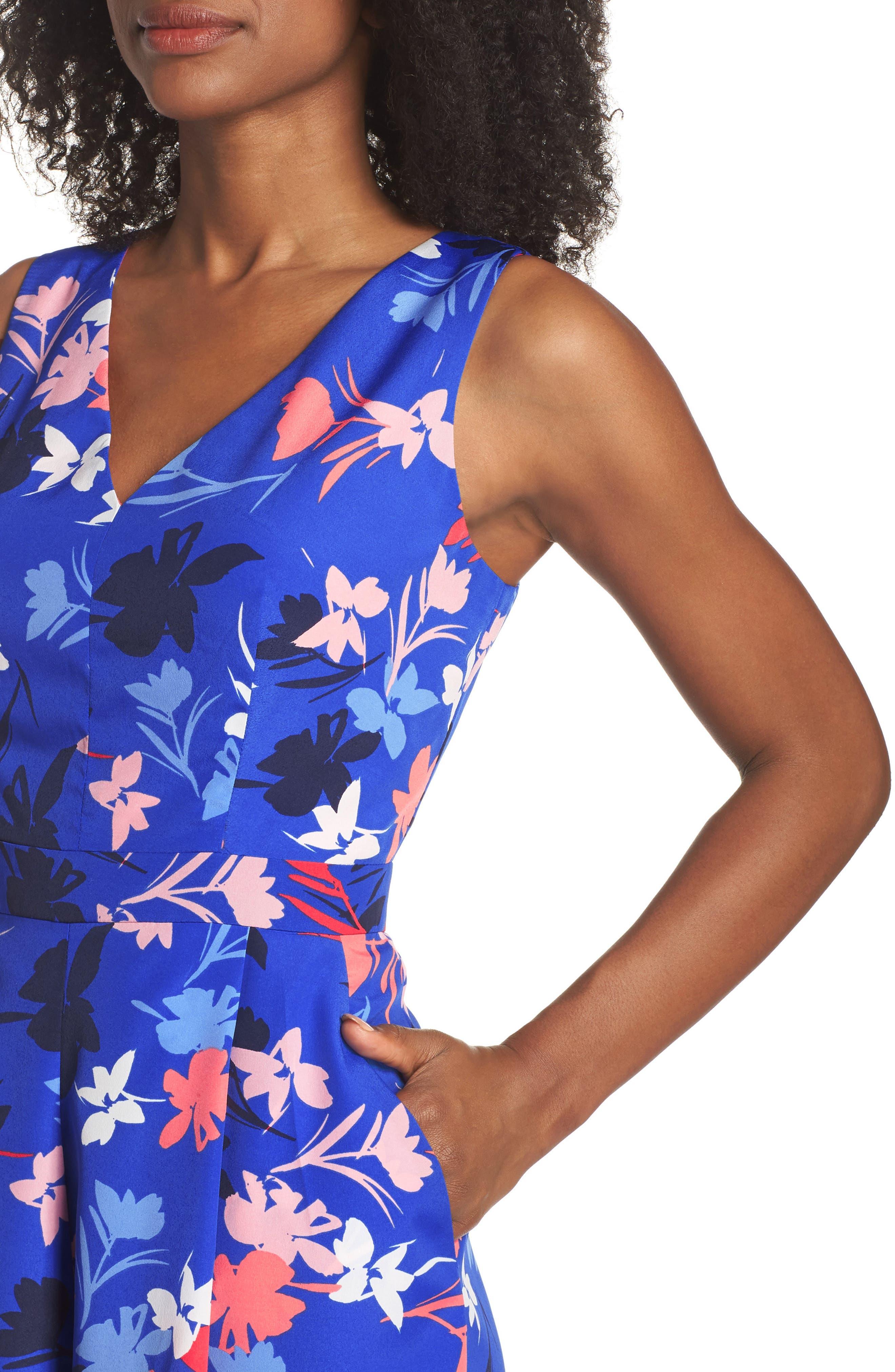 Floral Print Crop Jumpsuit,                             Alternate thumbnail 4, color,                             Blue/ Pink