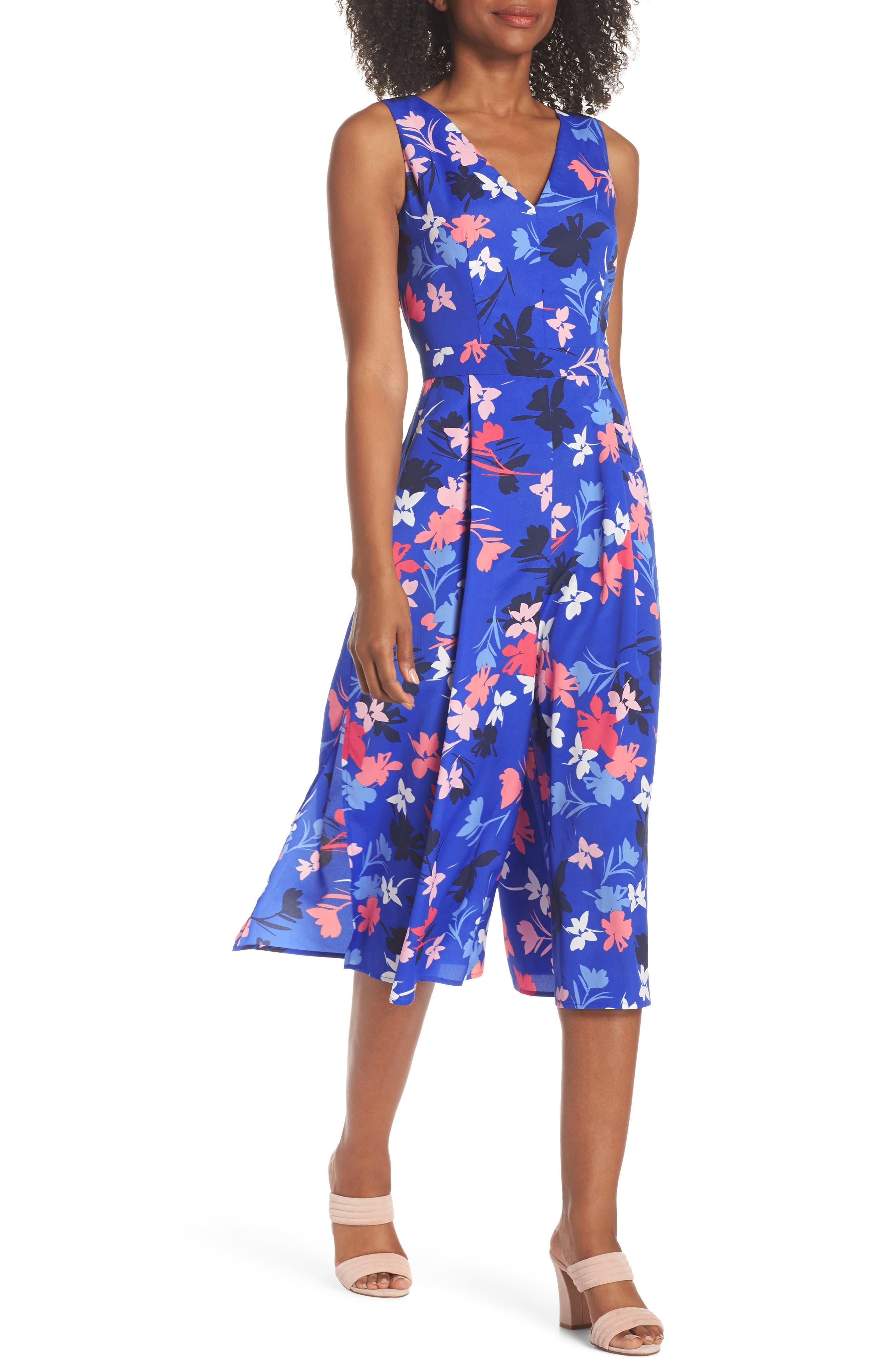 Floral Print Crop Jumpsuit,                             Main thumbnail 1, color,                             Blue/ Pink