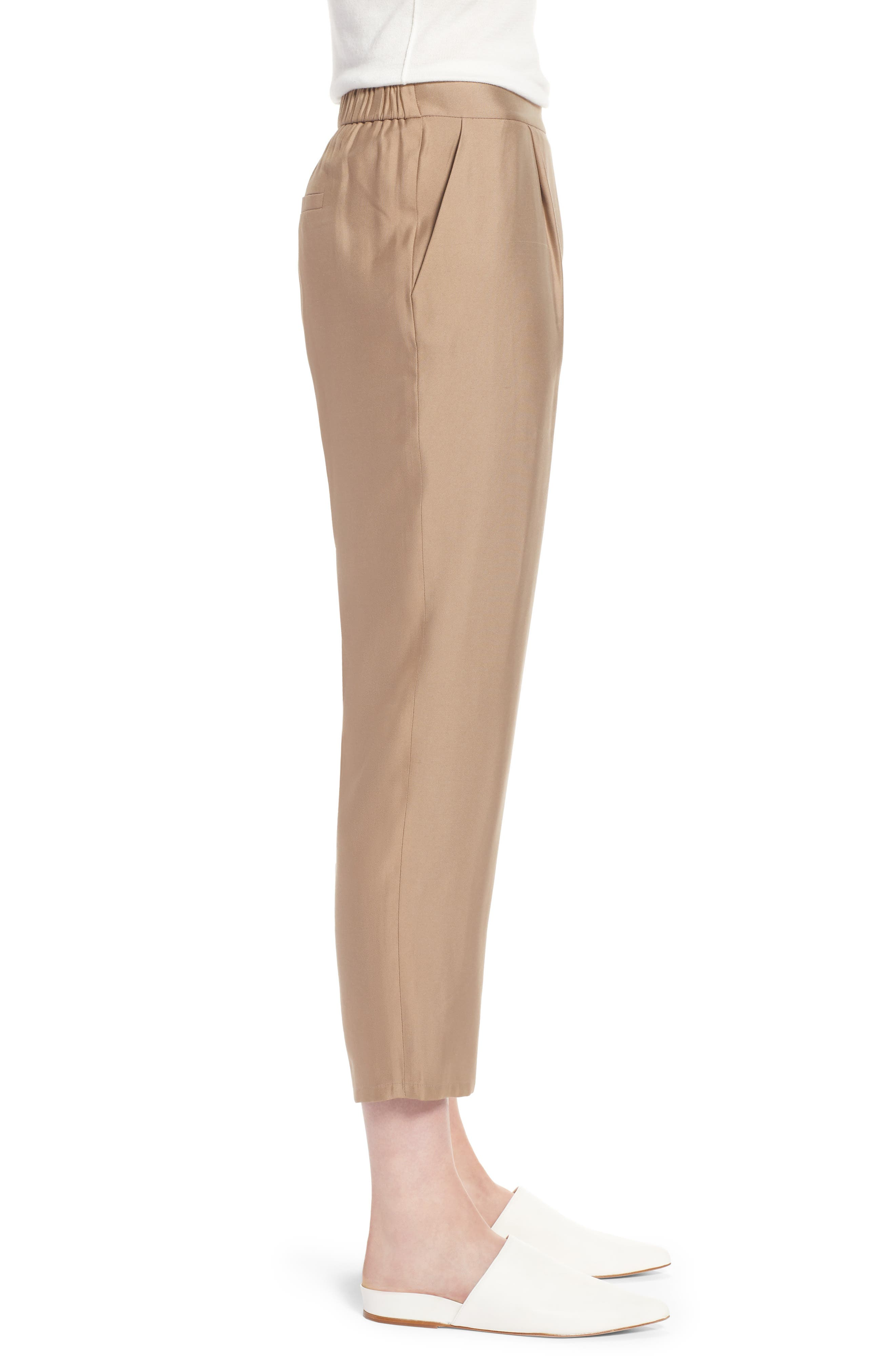 Pull-On Ankle Pants,                             Alternate thumbnail 3, color,                             Tan Greige