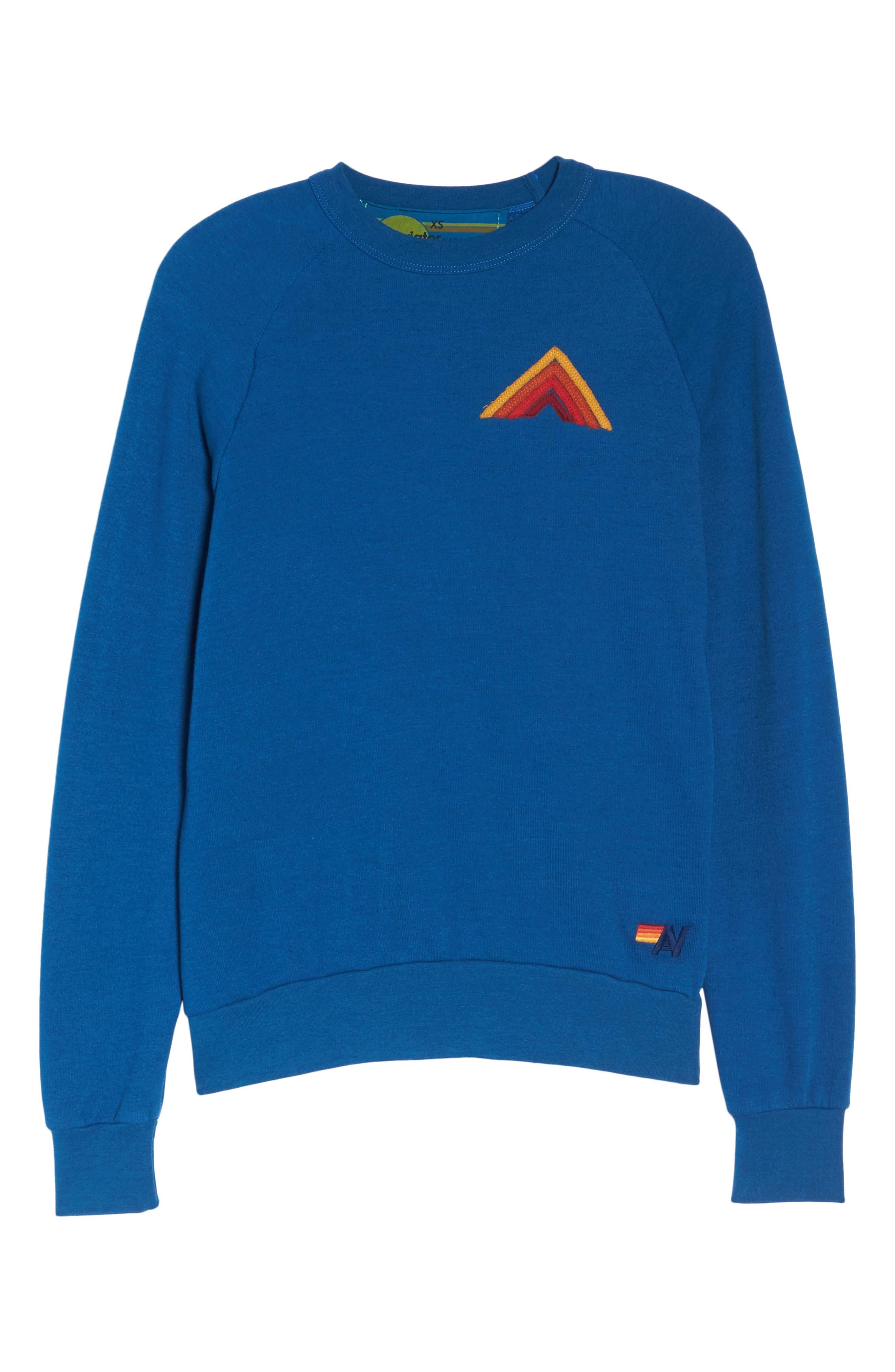 Mountain Stripe Crewneck Sweatshirt,                             Alternate thumbnail 8, color,                             Caribbean/ Red Stripes
