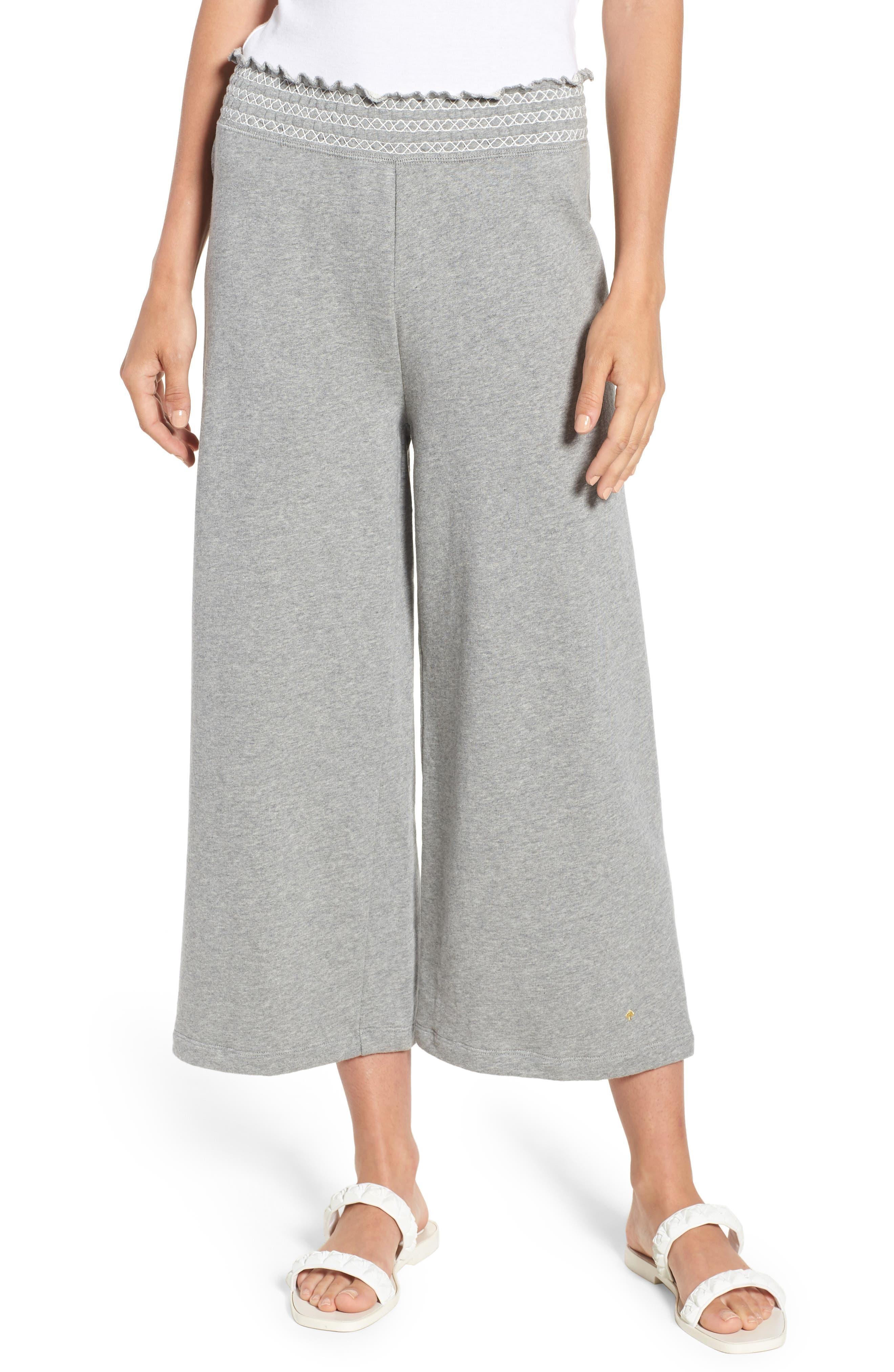smocked wide leg crop sweatpants,                         Main,                         color, Flint Heather