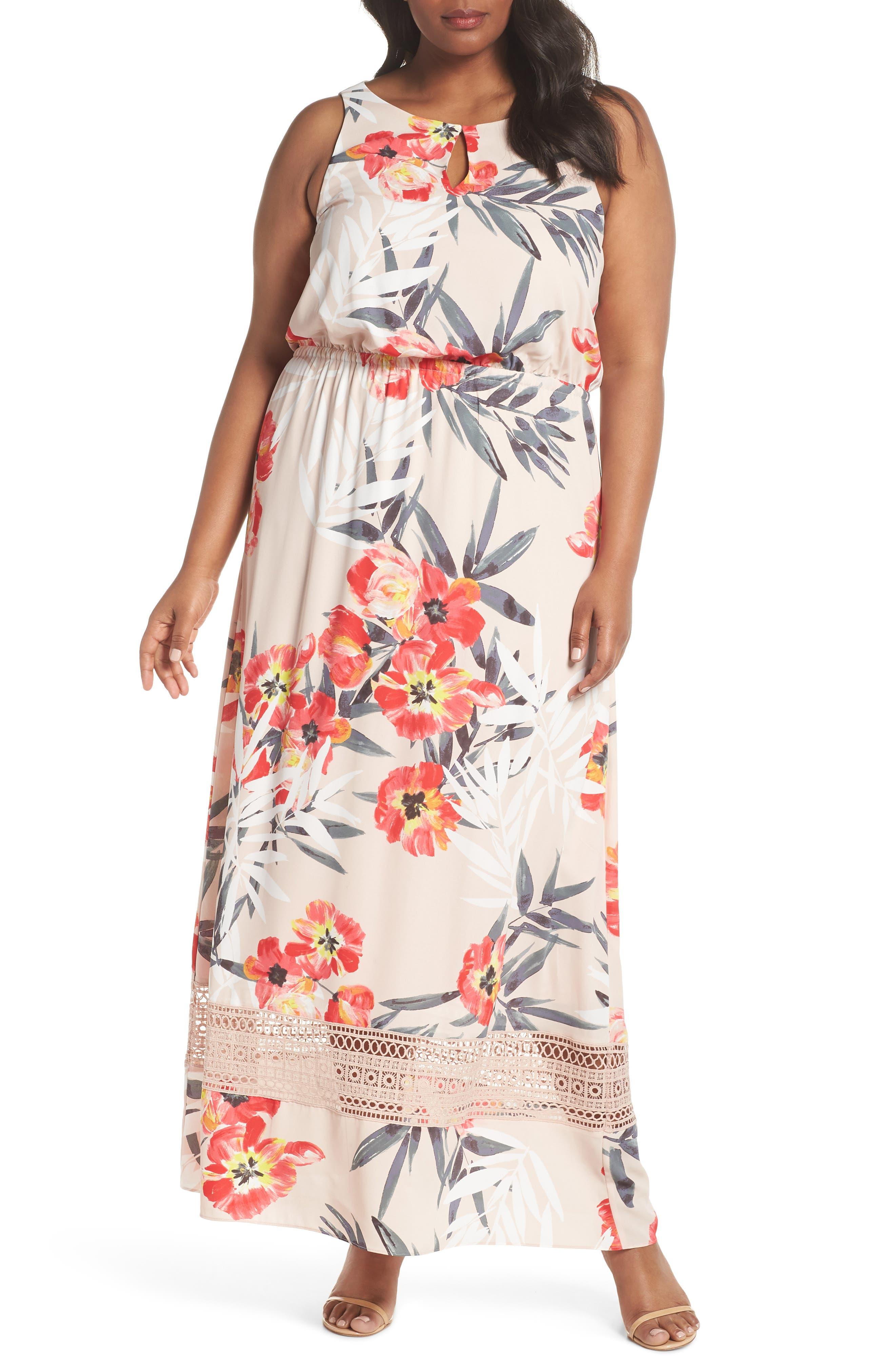 Tropical Breeze Floral Maxi Dress,                             Main thumbnail 1, color,                             Geranium Multi