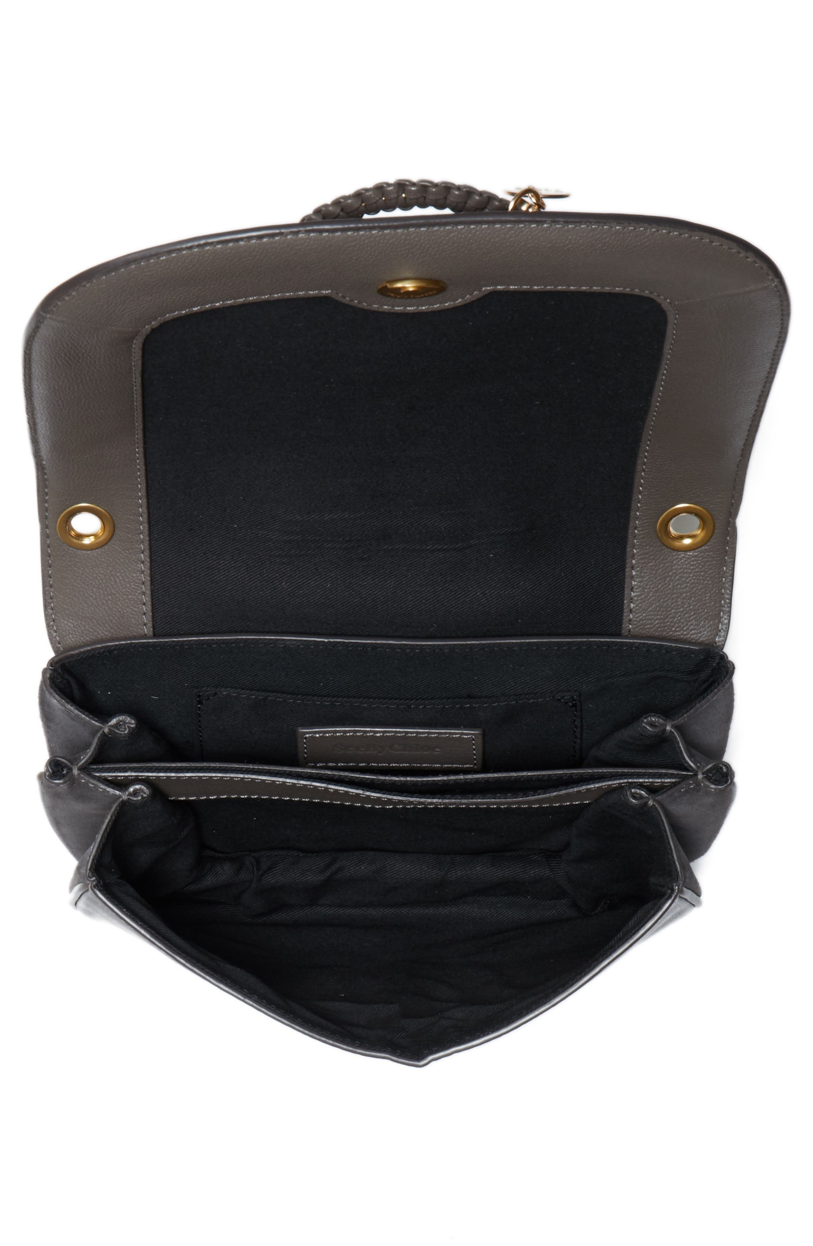 Small Hana Studded Leather Crossbody Bag,                             Alternate thumbnail 4, color,                             Lava Brown
