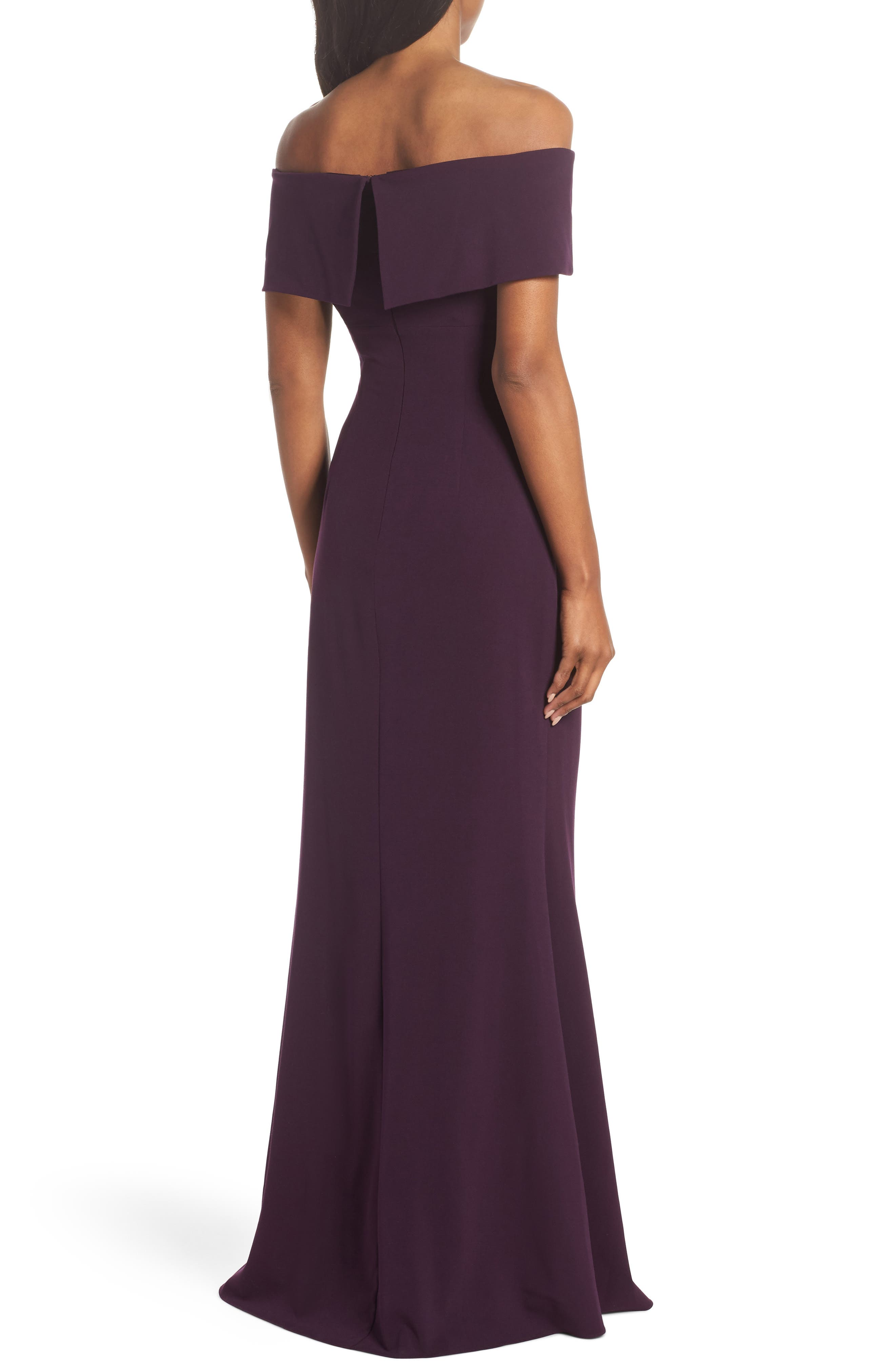 Knot Front Off the Shoulder Gown,                             Alternate thumbnail 2, color,                             Plum