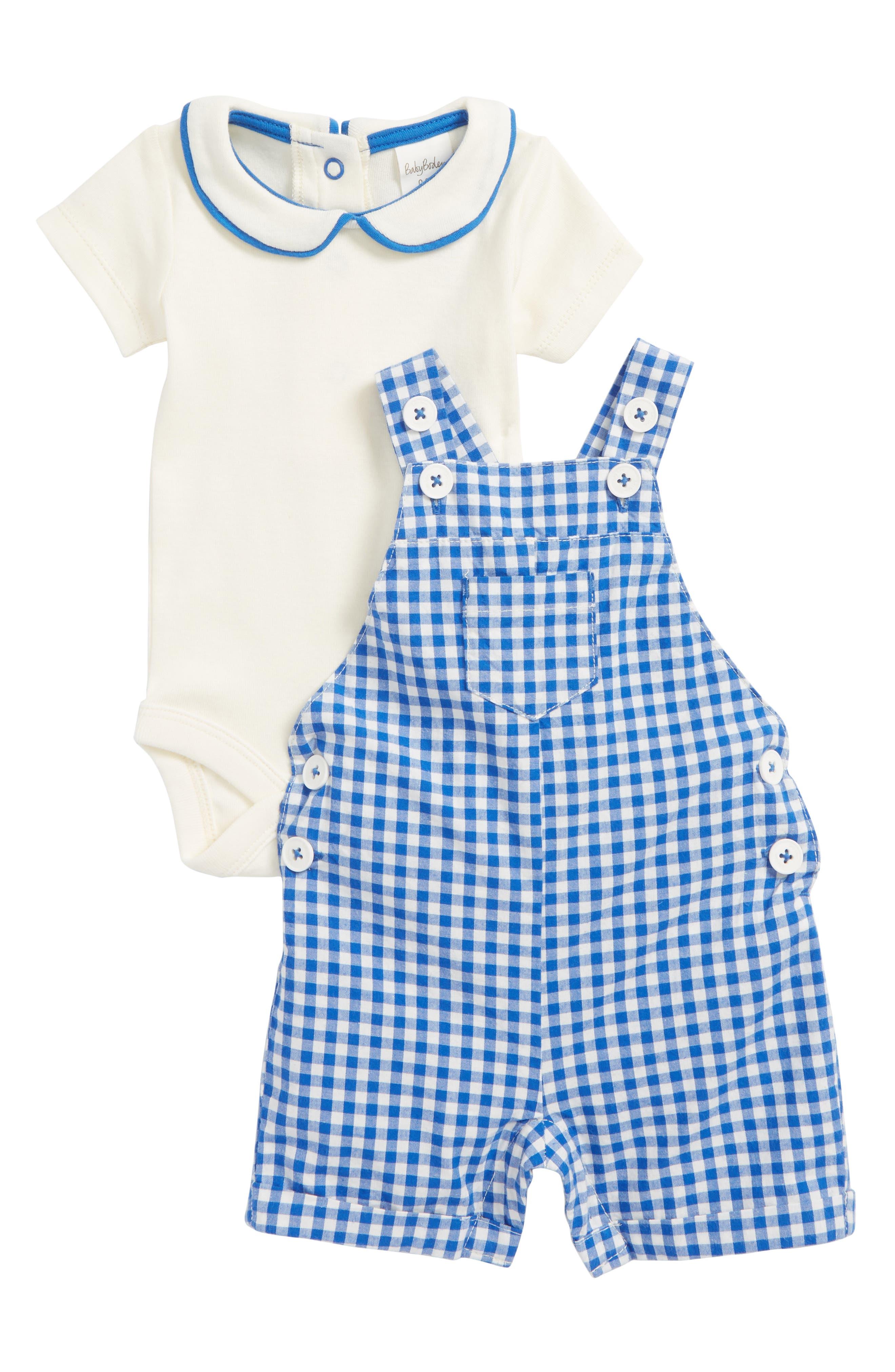 Mini Boden Overalls & Bodysuit Set (Baby Boys)