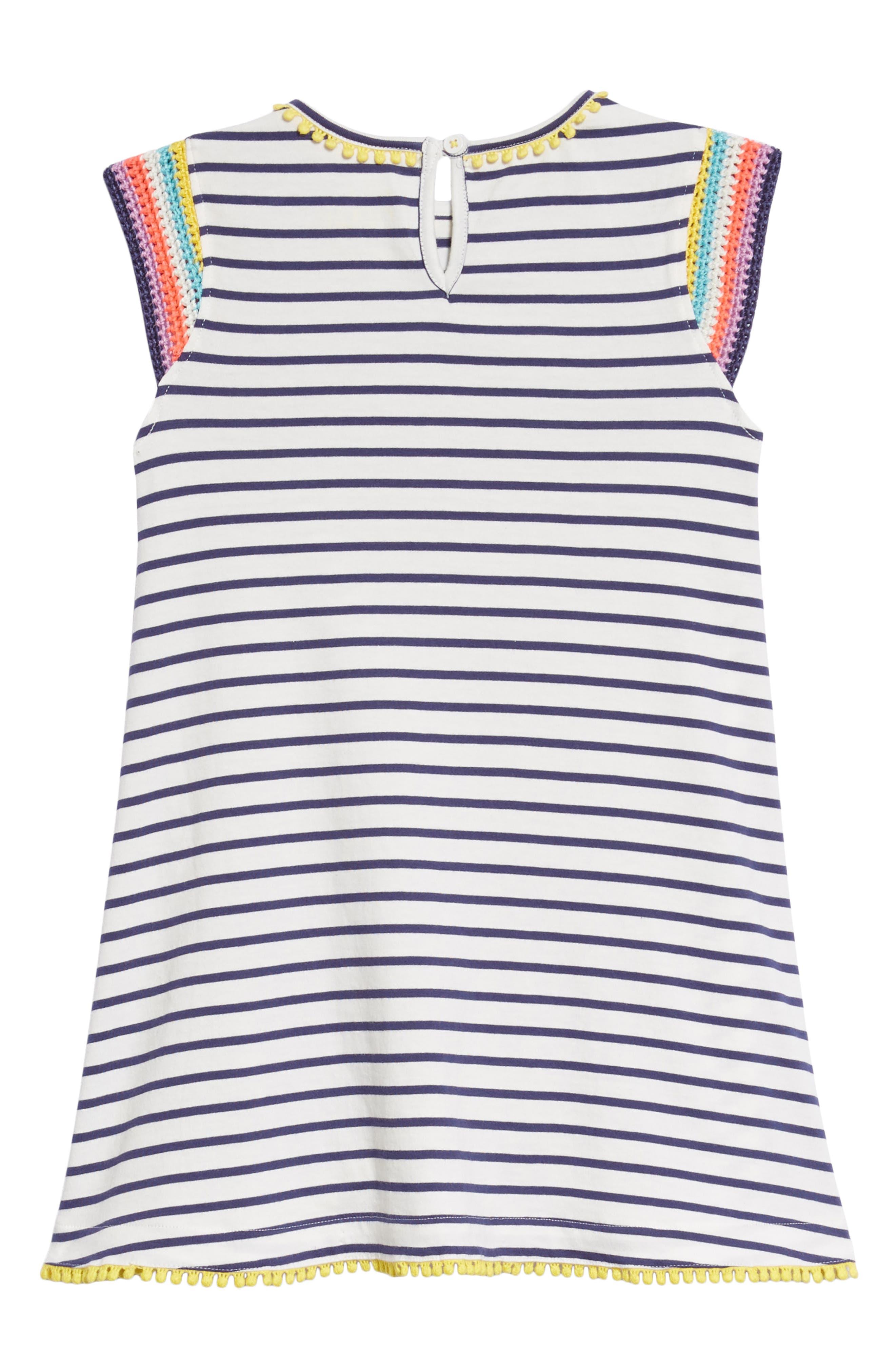 Crochet Sleeve Sundress,                             Alternate thumbnail 3, color,                             Ivory/ Starboard Blue