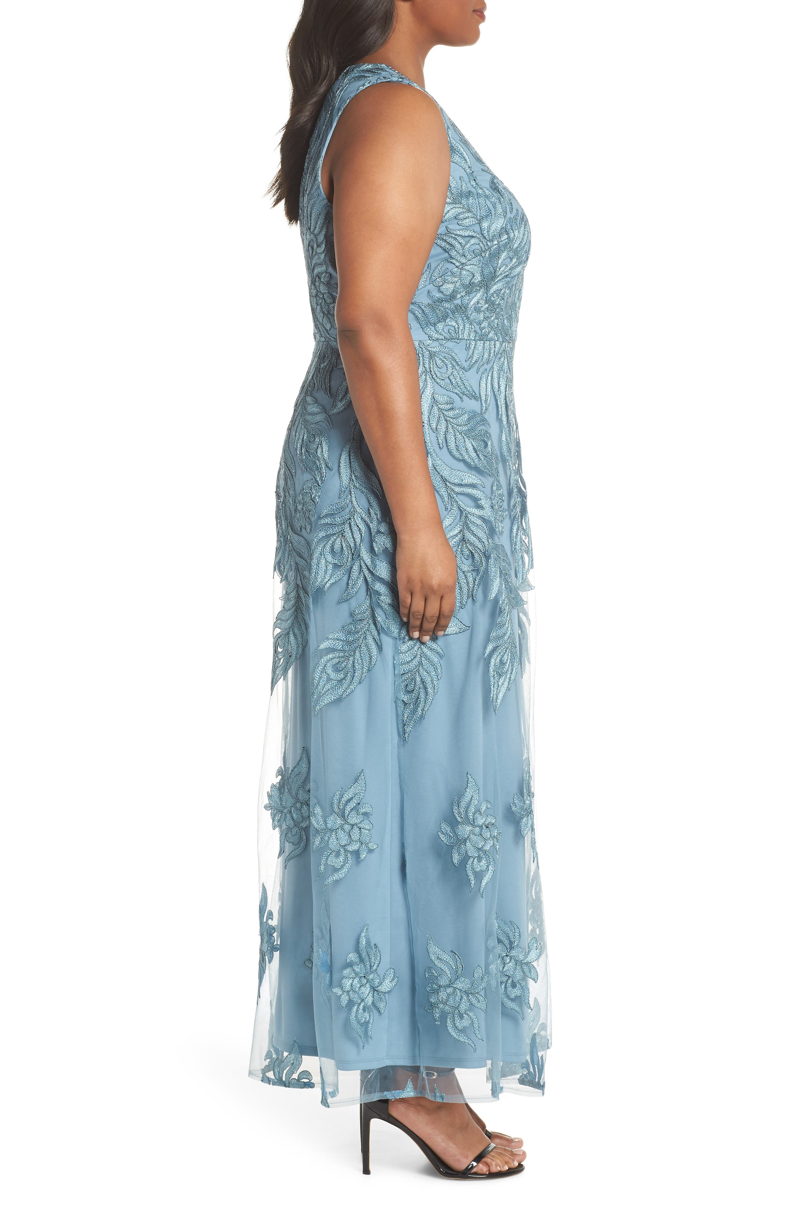 Beaded V-Neck Embroidered Mesh Gown,                             Alternate thumbnail 3, color,                             Seabreeze