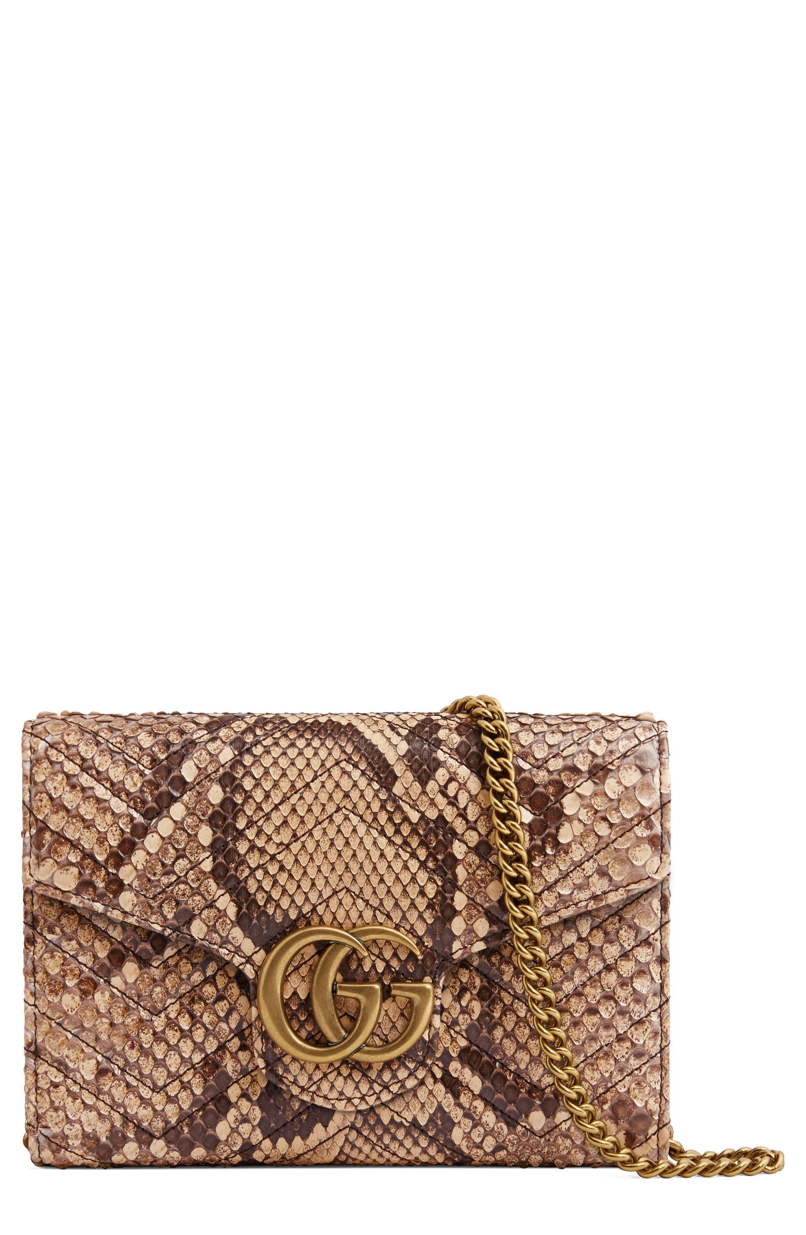 Gucci GG Marmont 2.0 Matelassé Genuine Python Wallet on a Chain