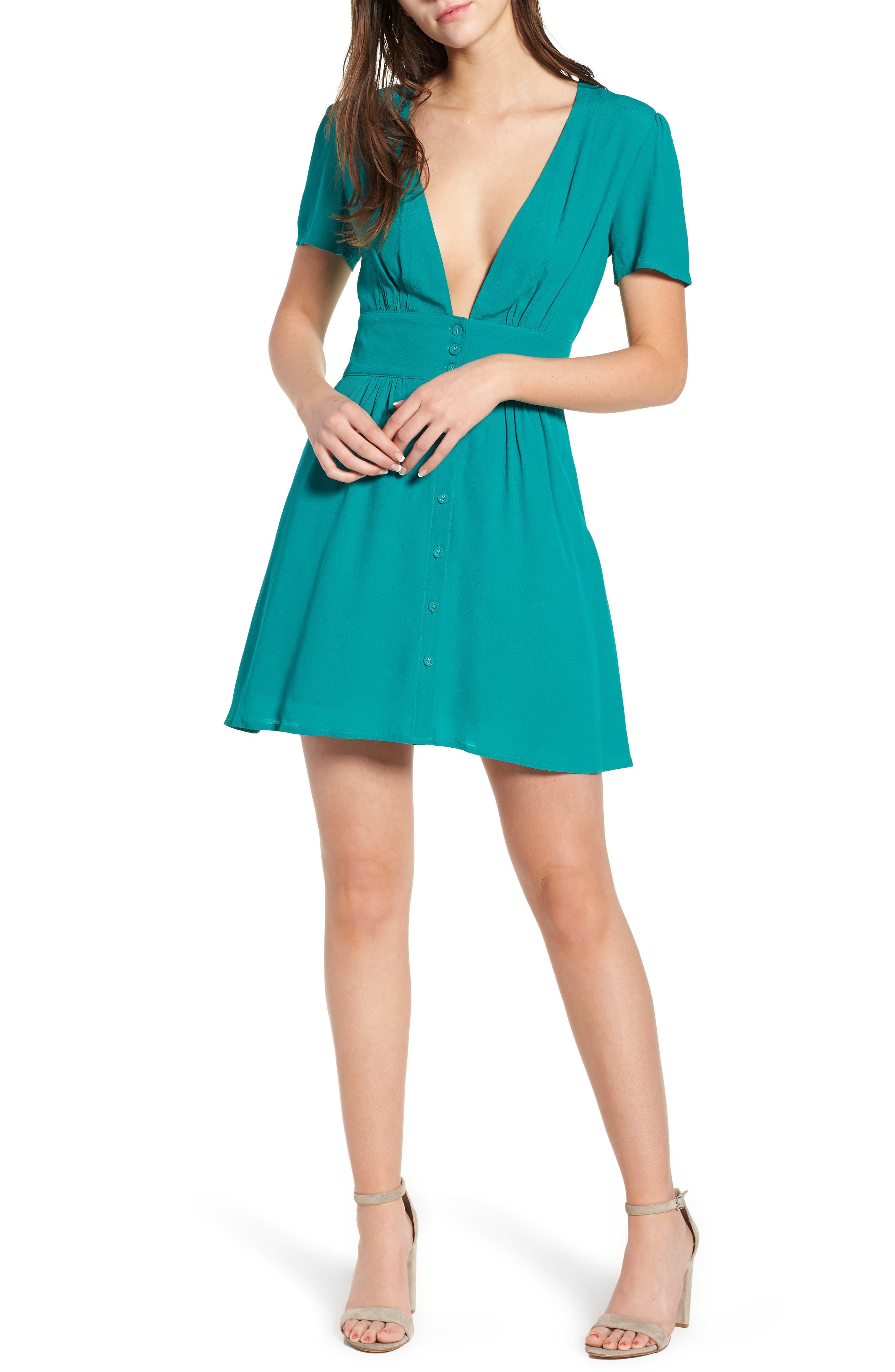 Verdera Plunging Minidress,                         Main,                         color, Green