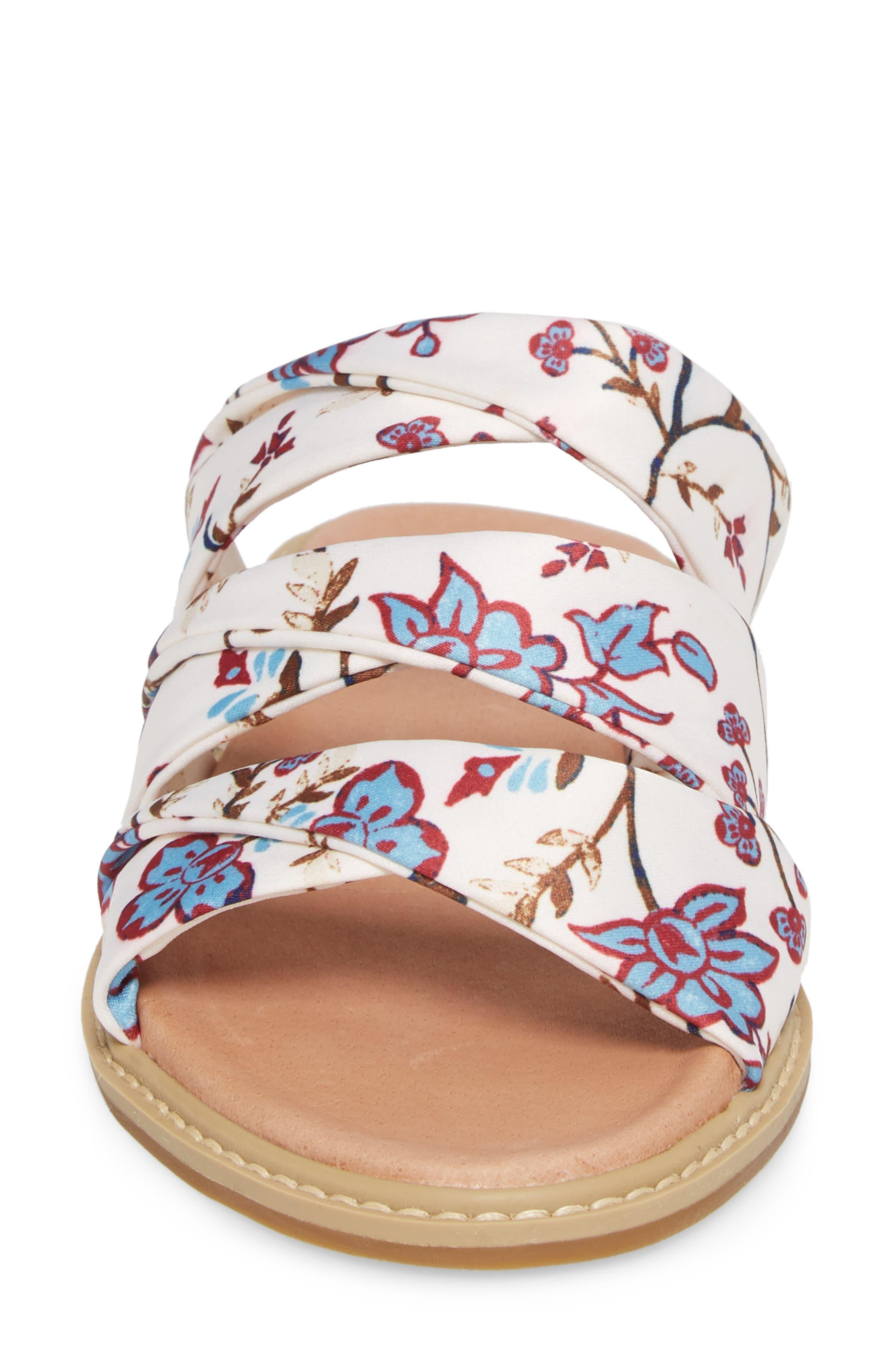 Cooper Slide Sandal,                             Alternate thumbnail 4, color,                             White Agrestic Fabric