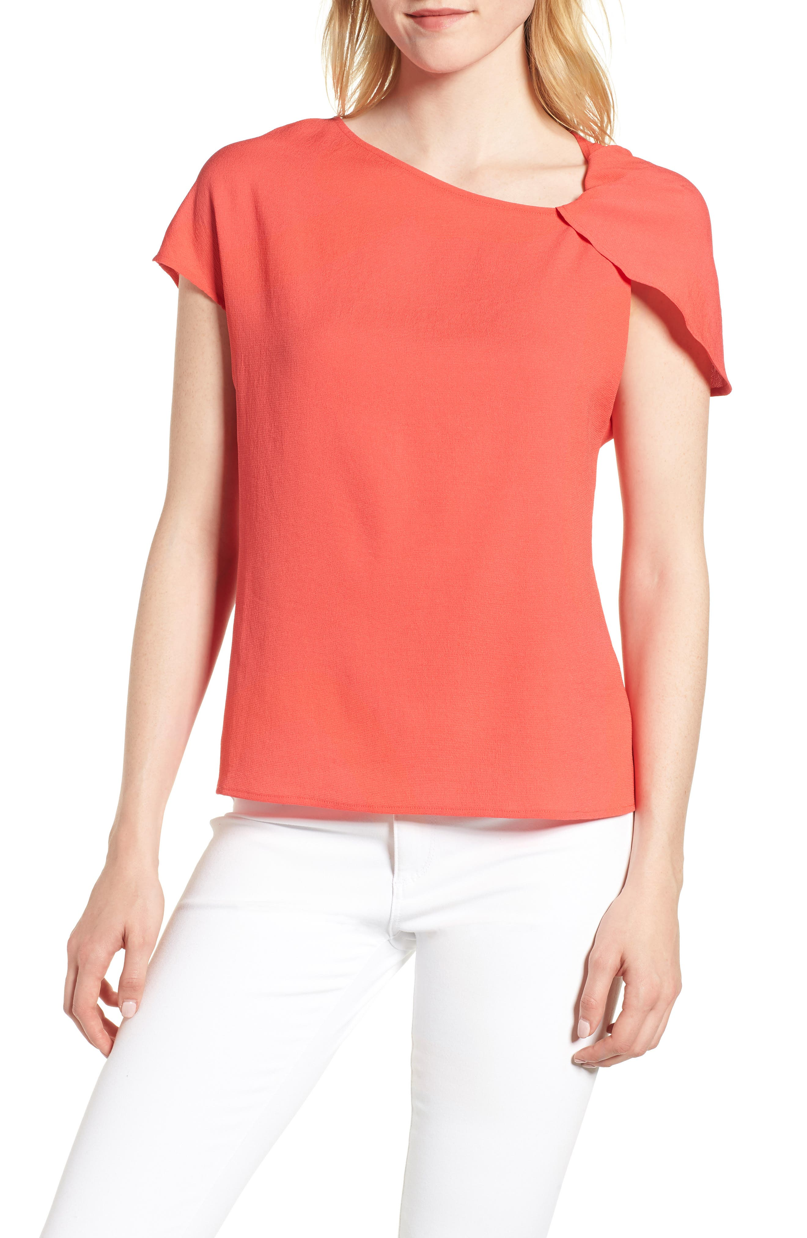 Asymmetrical Shoulder Top,                             Main thumbnail 1, color,                             Red Hibiscus