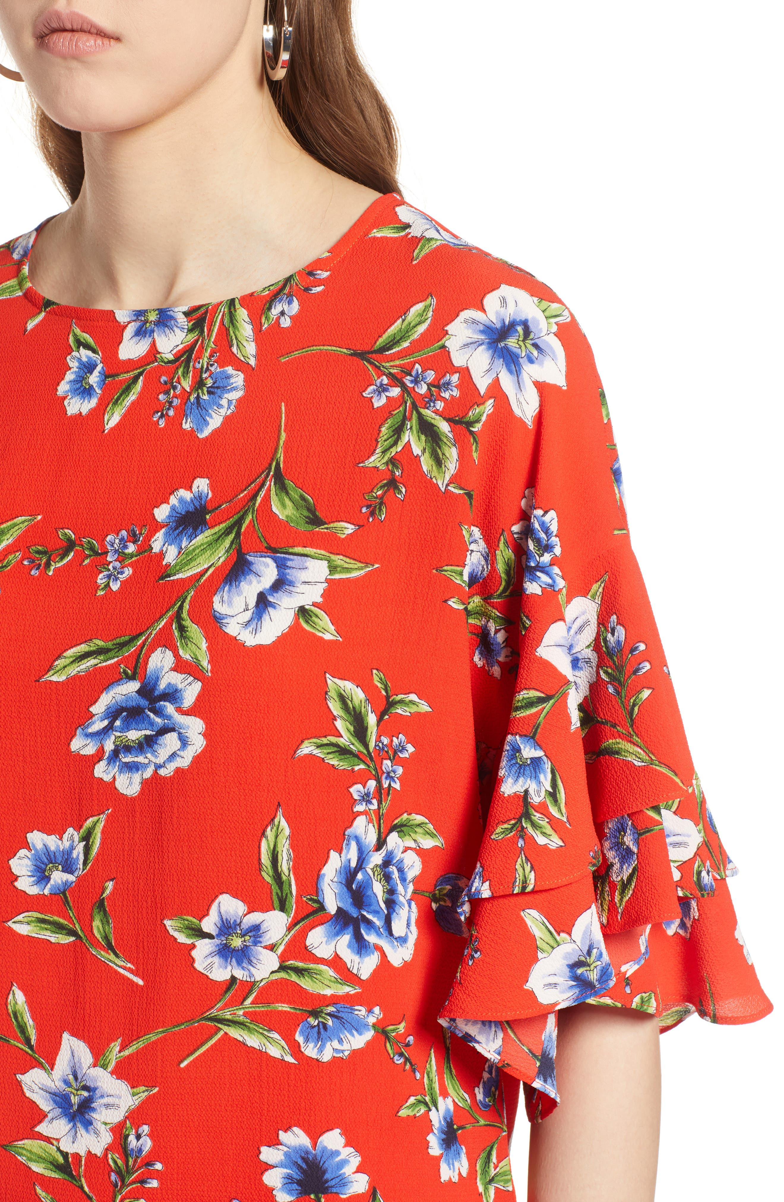 Ruffle Sleeve Print Top,                             Alternate thumbnail 5, color,                             Red Blossom Print