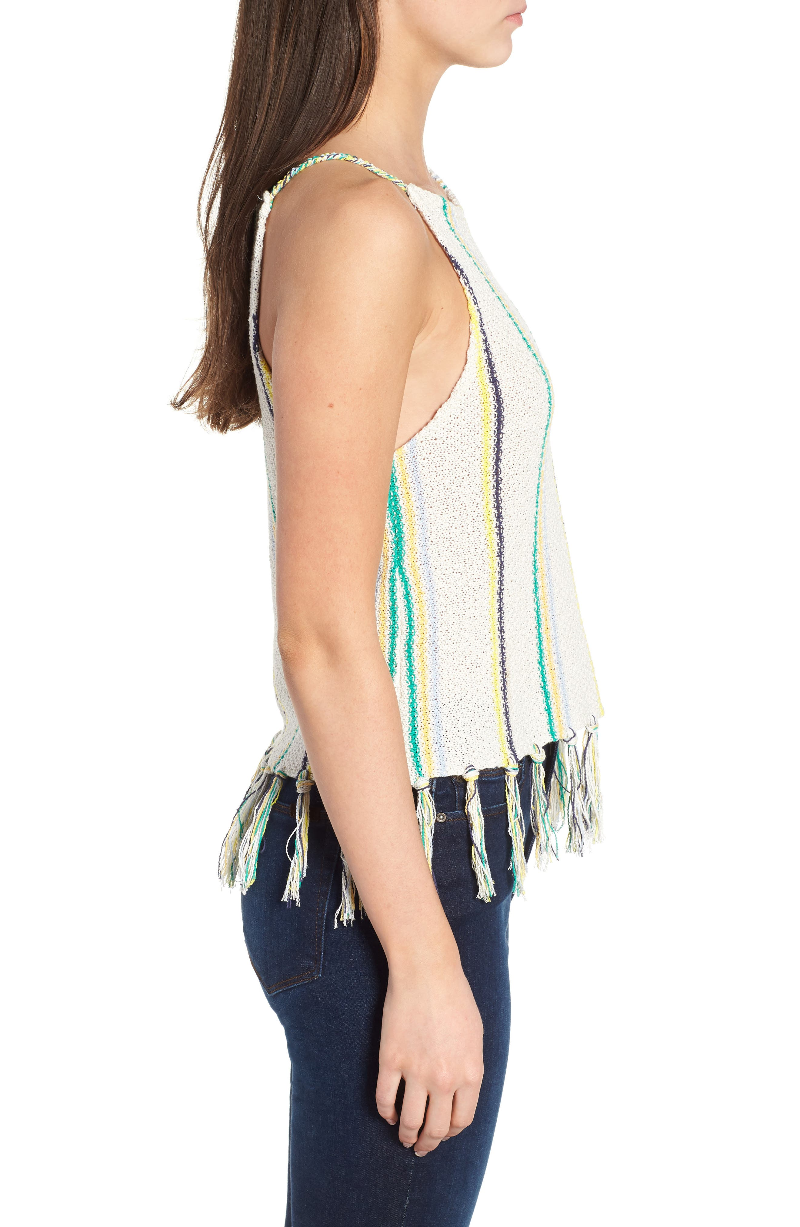 Cecille Stripe Sweater Tank,                             Alternate thumbnail 5, color,                             Oatmeal