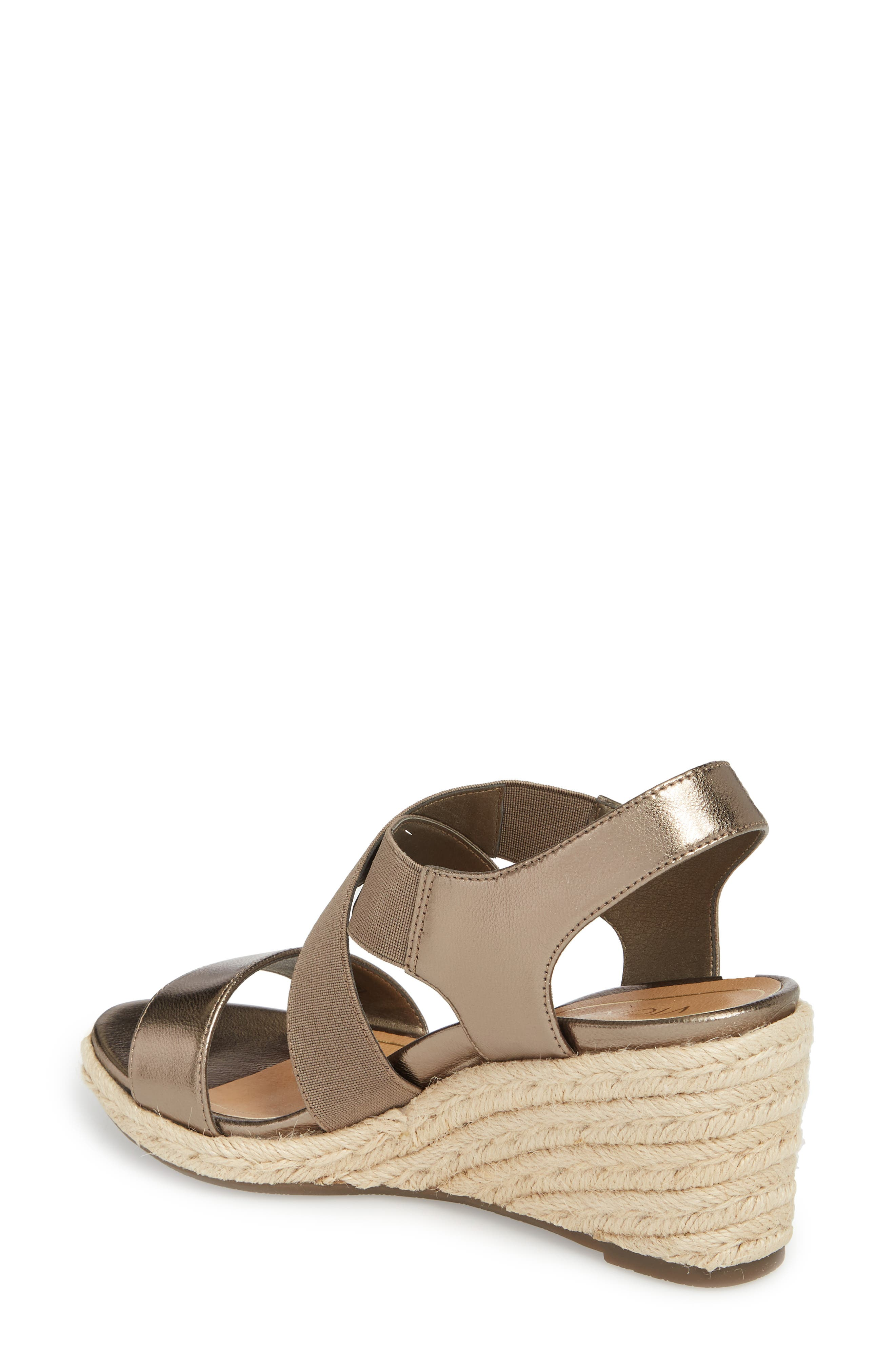 Ainsleigh Wedge Sandal,                             Alternate thumbnail 2, color,                             Dark Taupe Leather