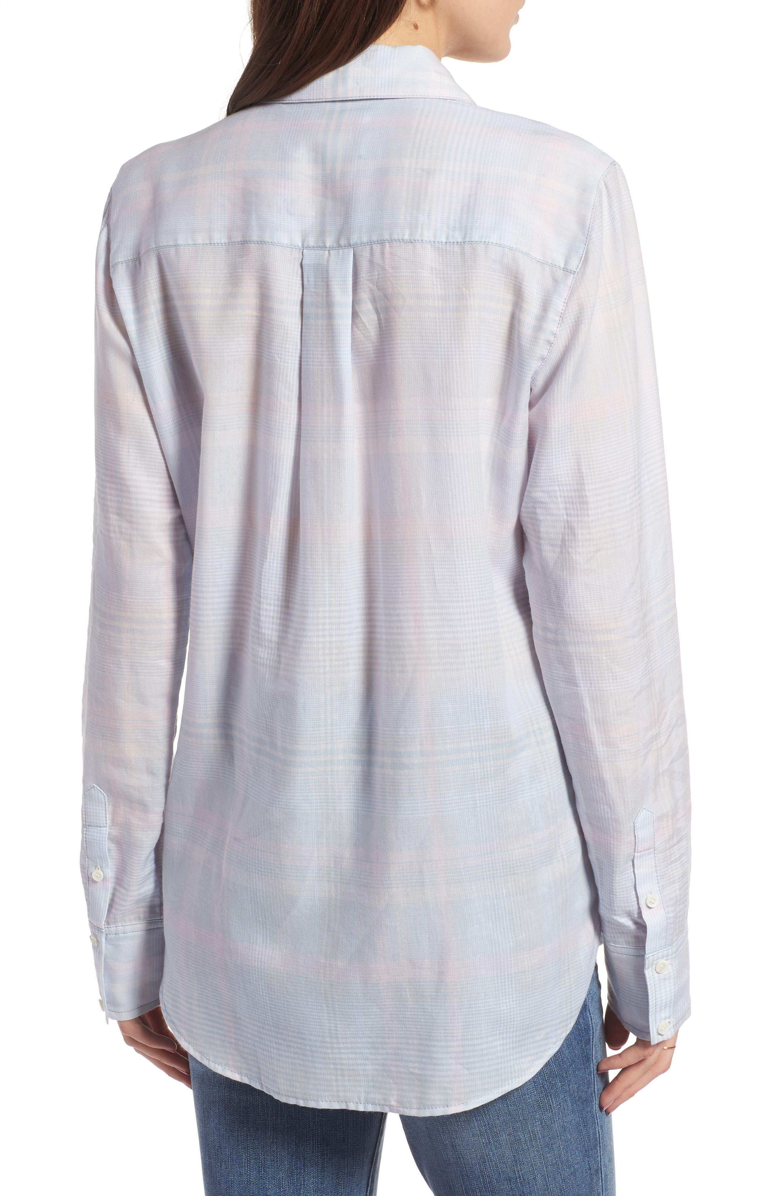Classic Drapey Shirt,                             Alternate thumbnail 2, color,                             White Mini Glen