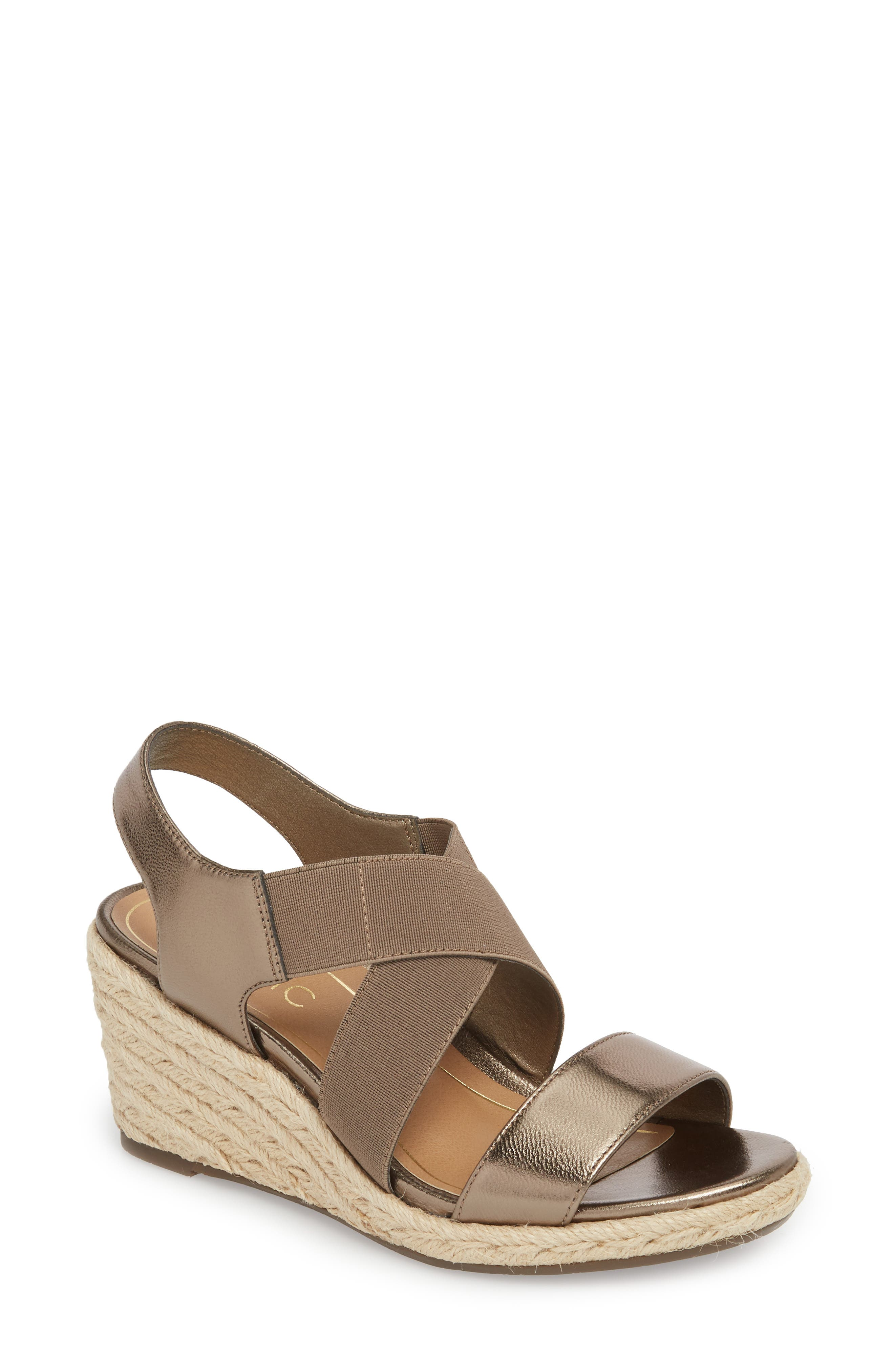 Ainsleigh Wedge Sandal,                             Main thumbnail 1, color,                             Dark Taupe Leather