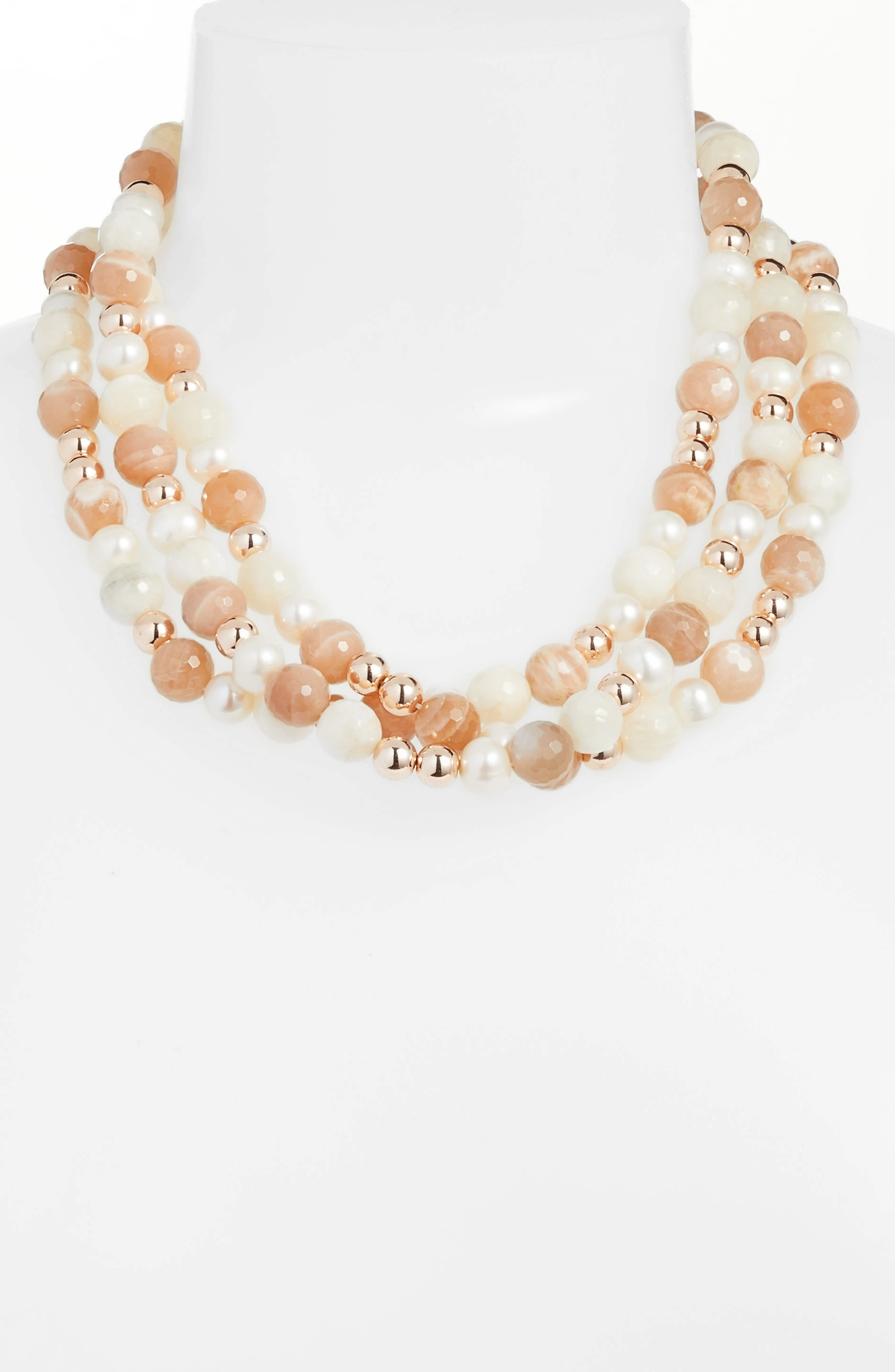 Pearl & Stone Necklace,                             Main thumbnail 1, color,                             Pink/ White/ Silver