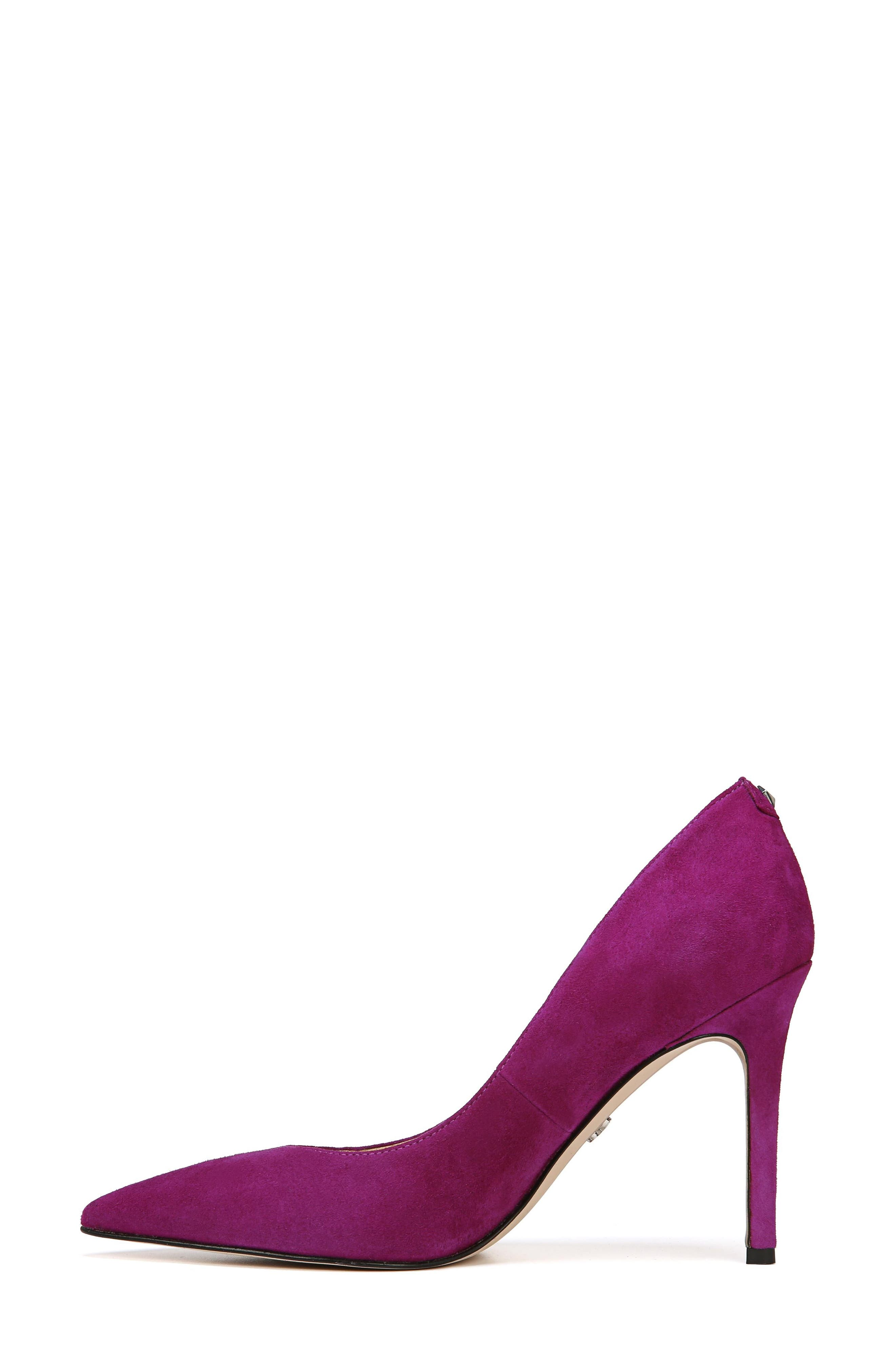 Hazel Pointy Toe Pump,                             Alternate thumbnail 2, color,                             Purple Plum Suede