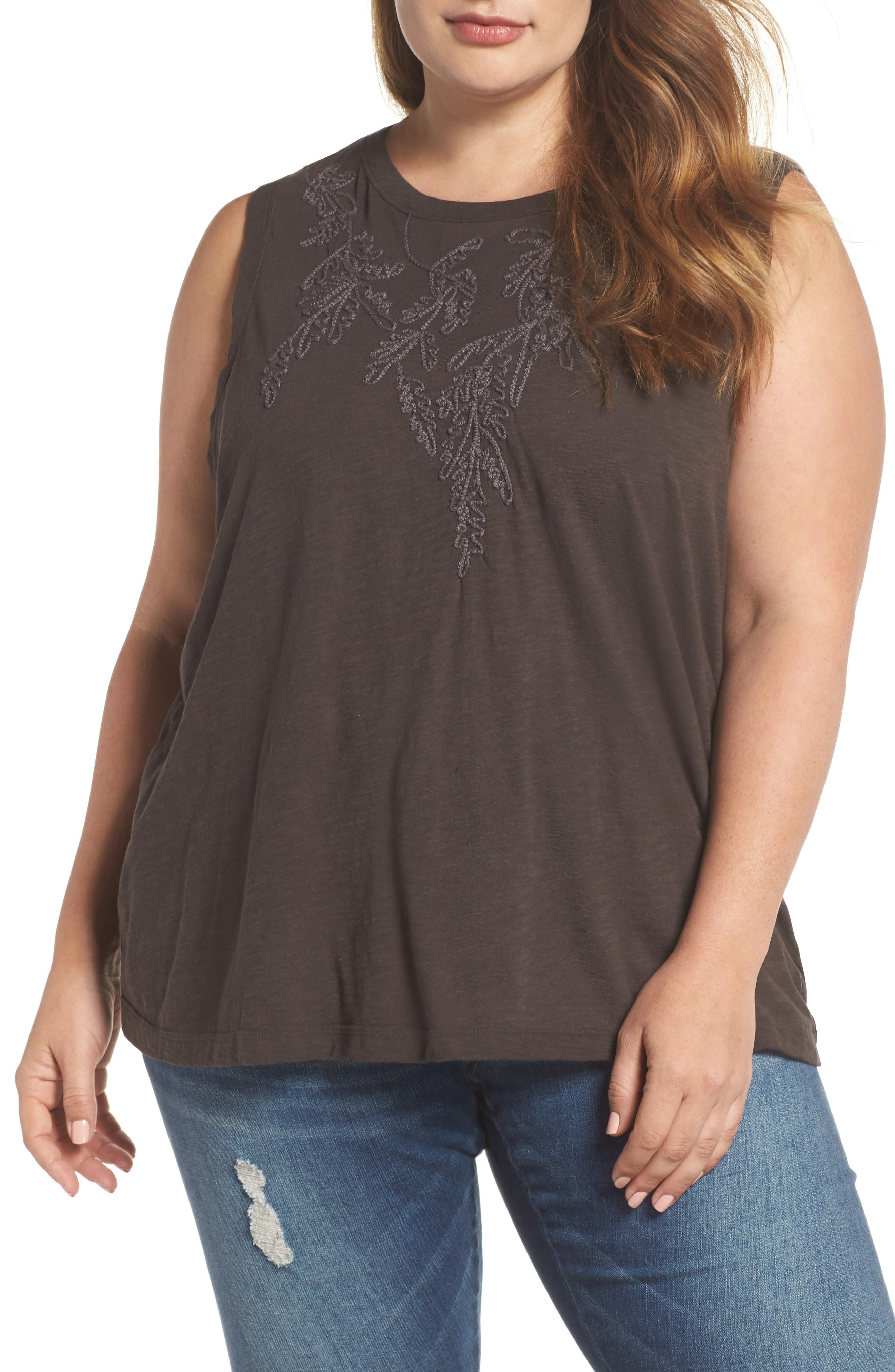 Embroidered Leaf Ruched Back Top,                         Main,                         color, Lucky Black