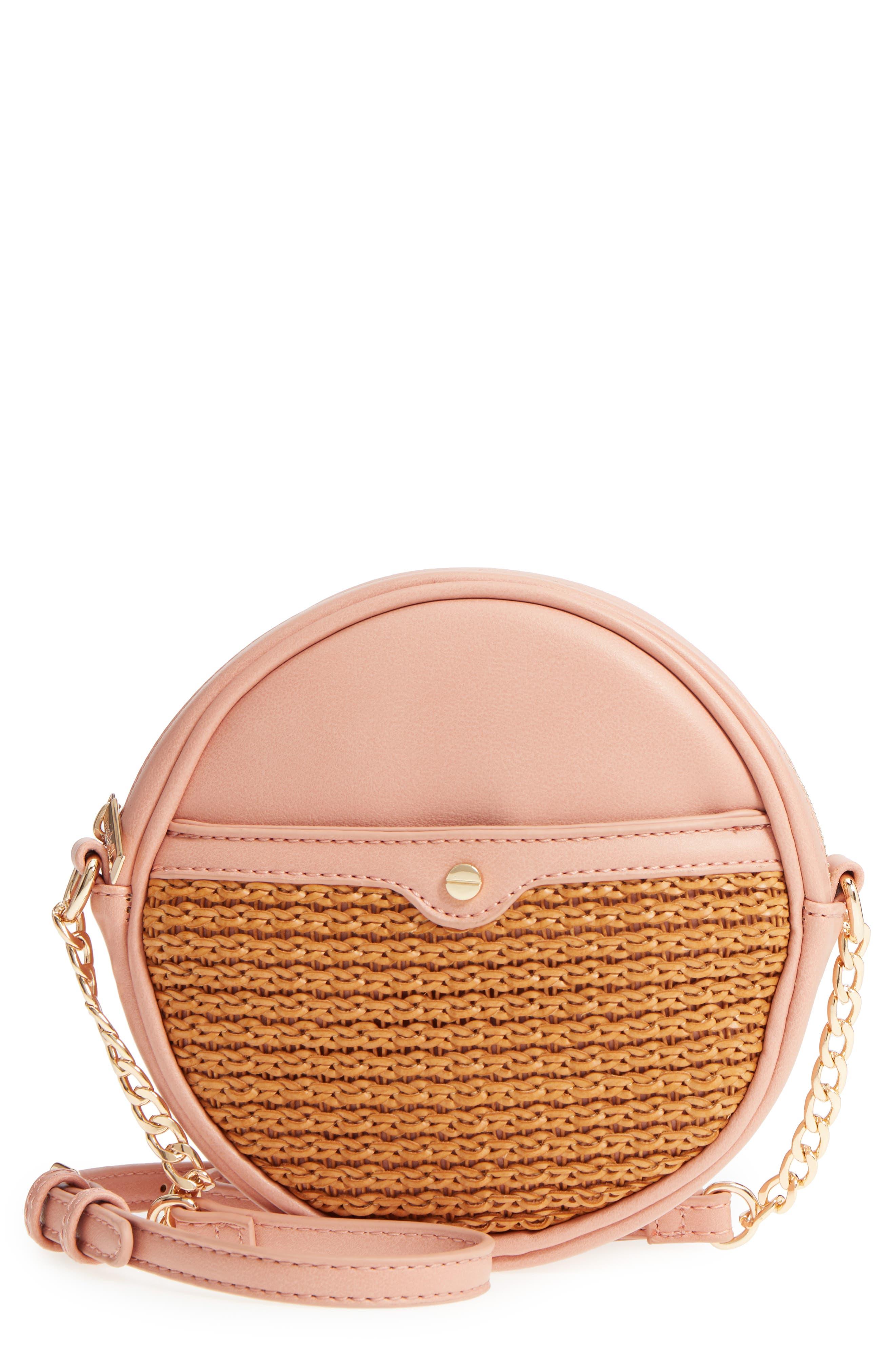 Mali + Lili Basket Weave Vegan Leather Canteen Crossbody Bag