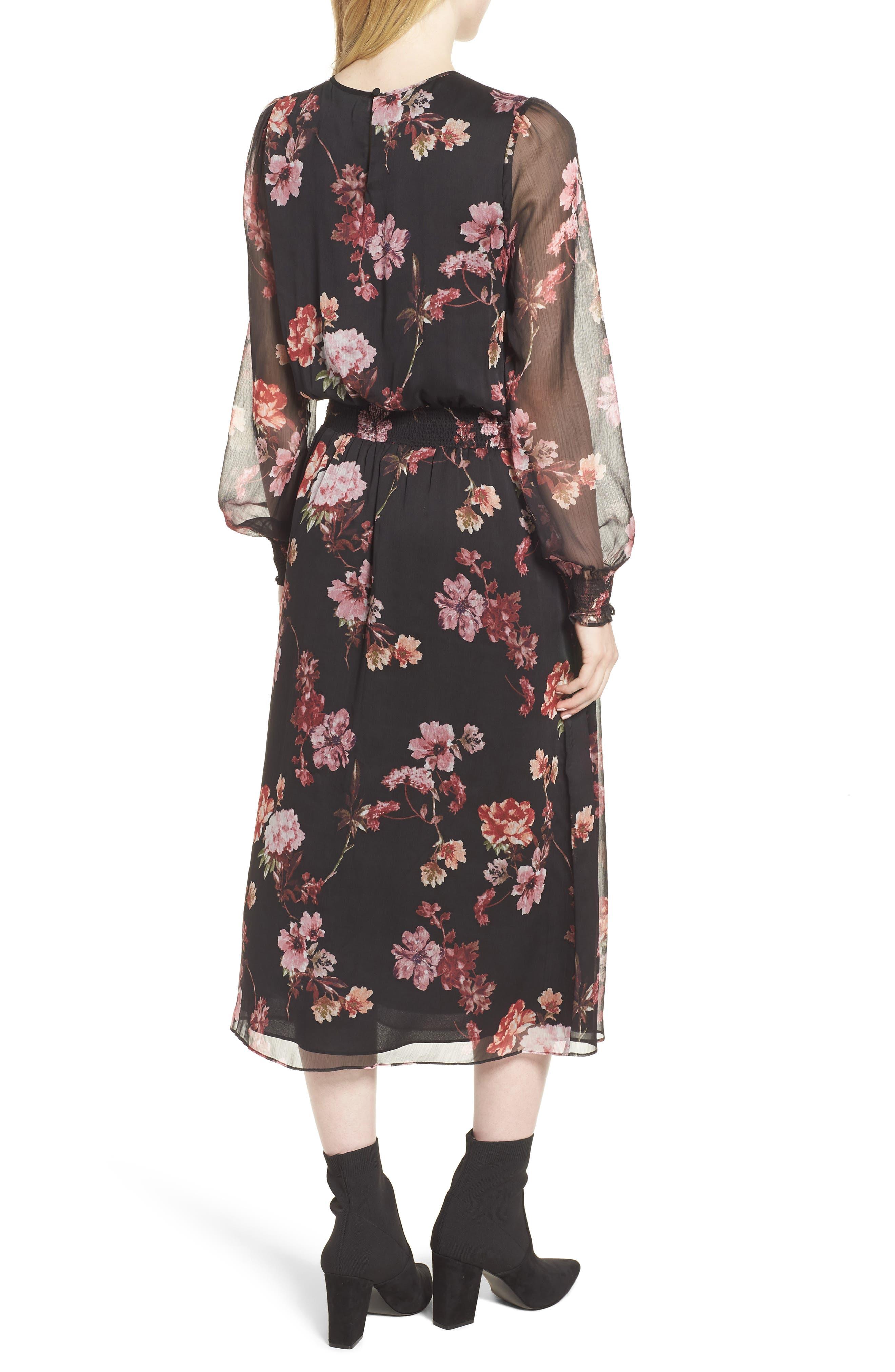 Garden Fleur Chiffon Blouson Dress,                             Alternate thumbnail 2, color,                             Rich Black