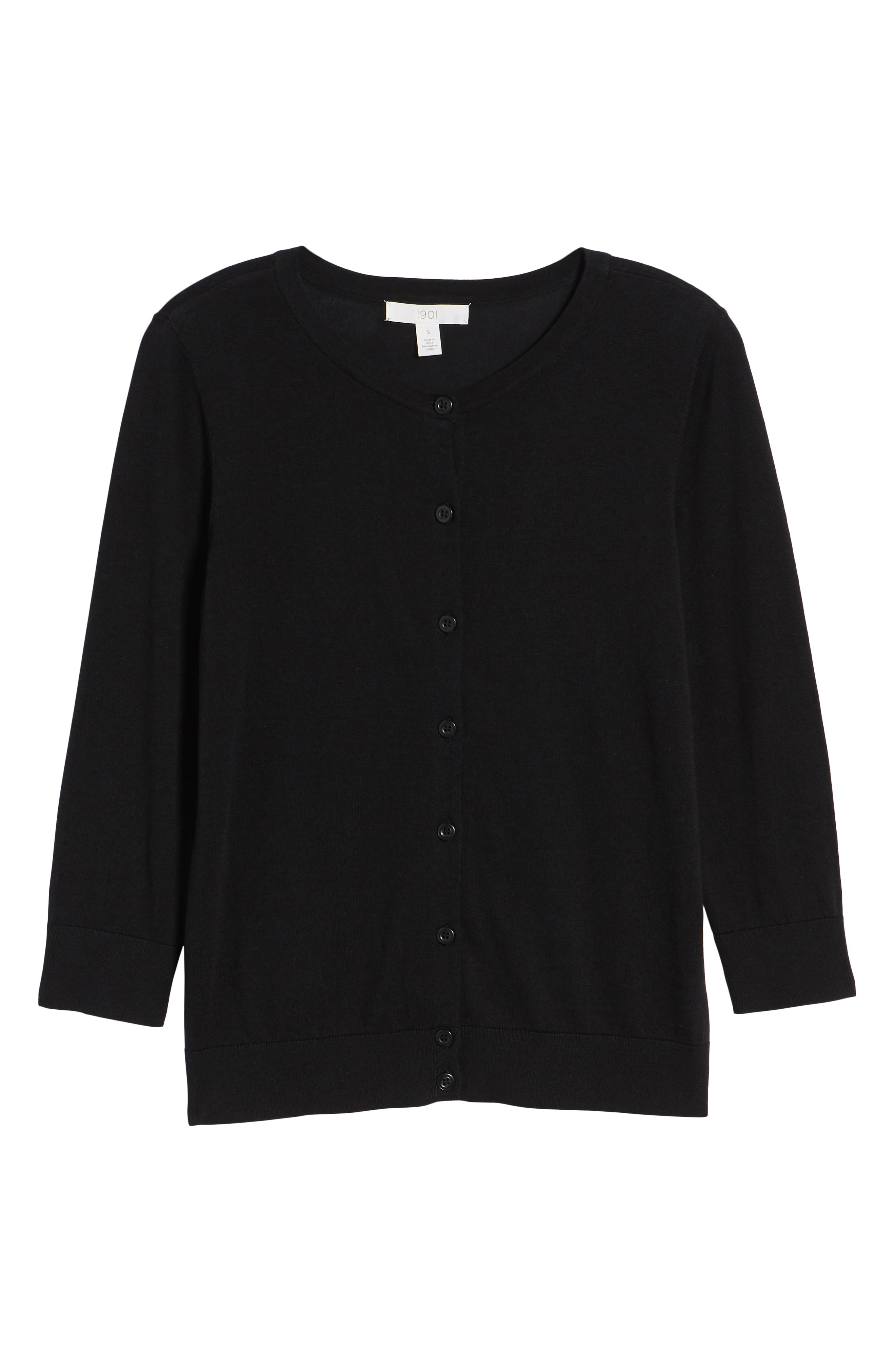 Cotton Blend Cardigan,                             Alternate thumbnail 7, color,                             Black