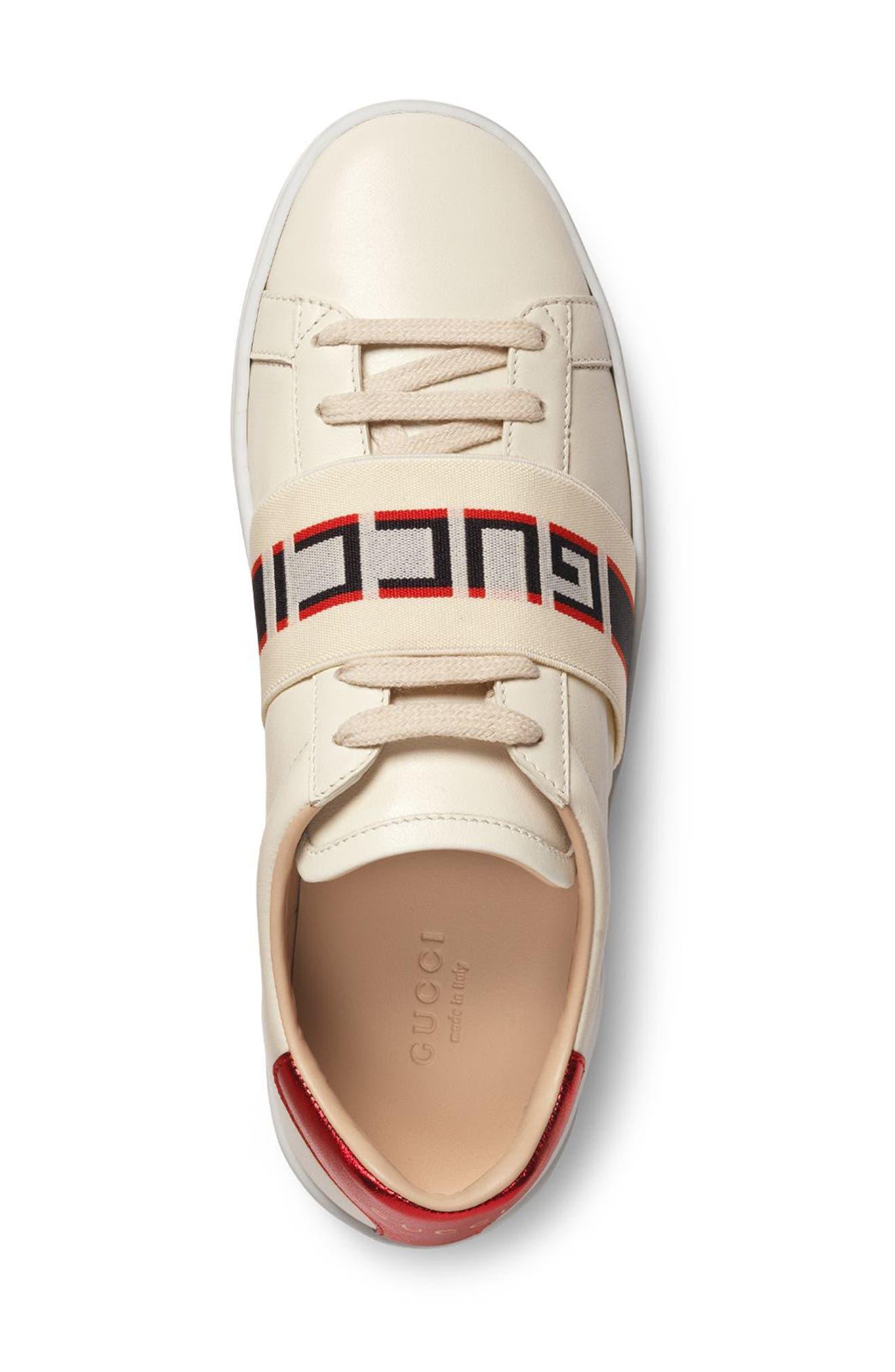 New Ace Logo Strap Sneaker,                             Alternate thumbnail 3, color,                             White