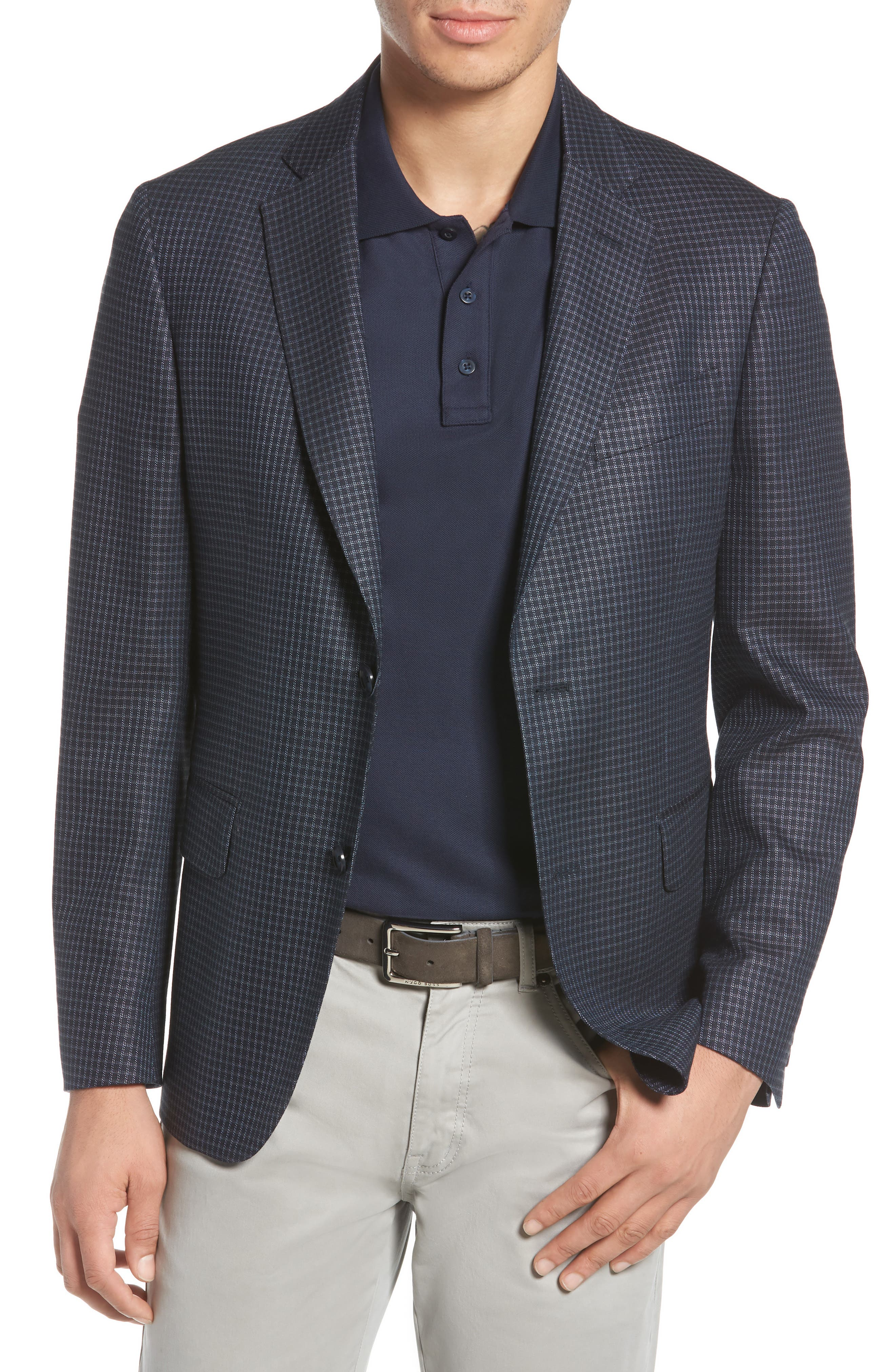 Traditional Fit Check Wool Blend Sport Coat,                         Main,                         color, Navy