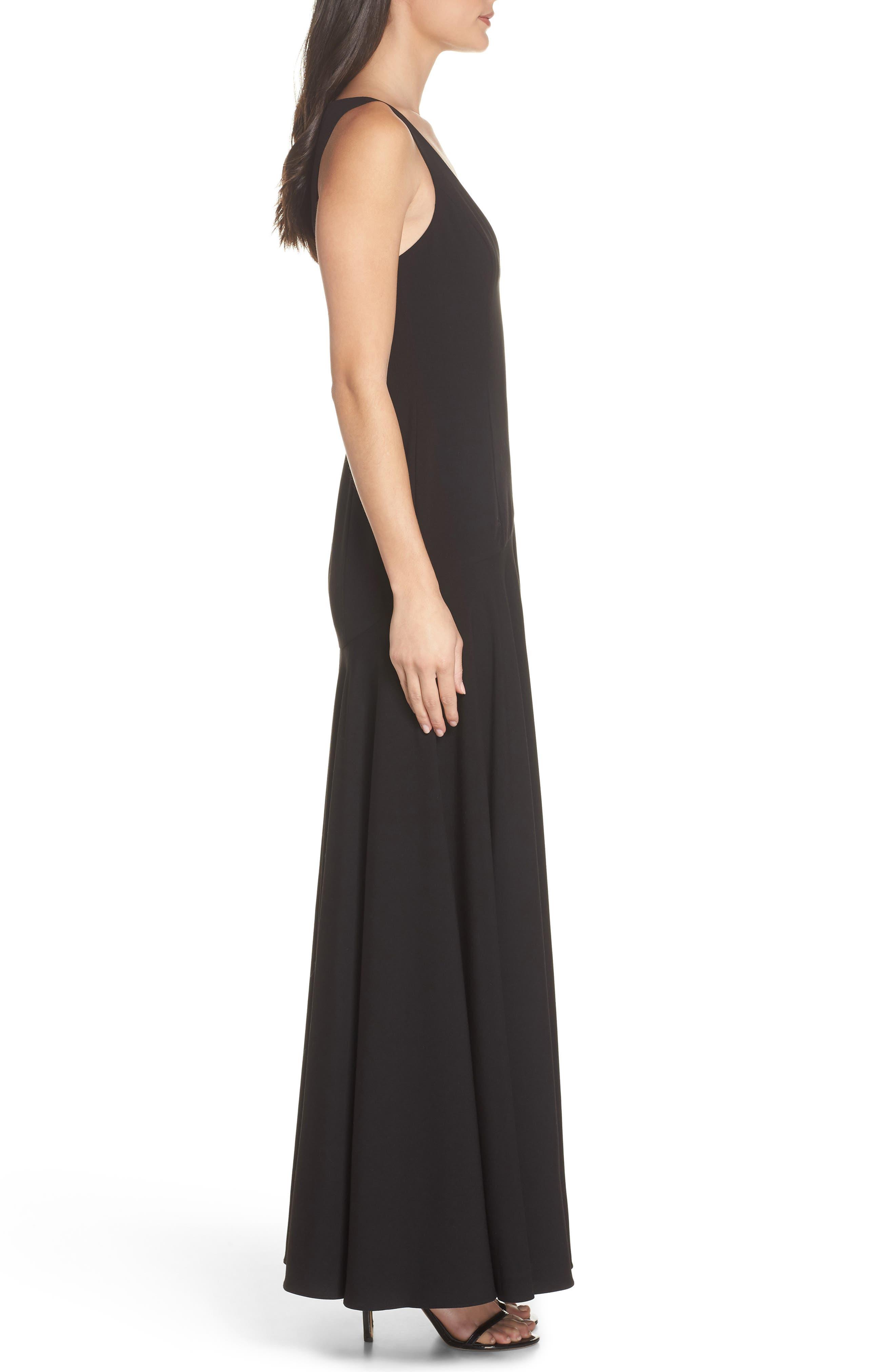 Fame & Partners The Hazel Front Slit Gown,                             Alternate thumbnail 3, color,                             Black