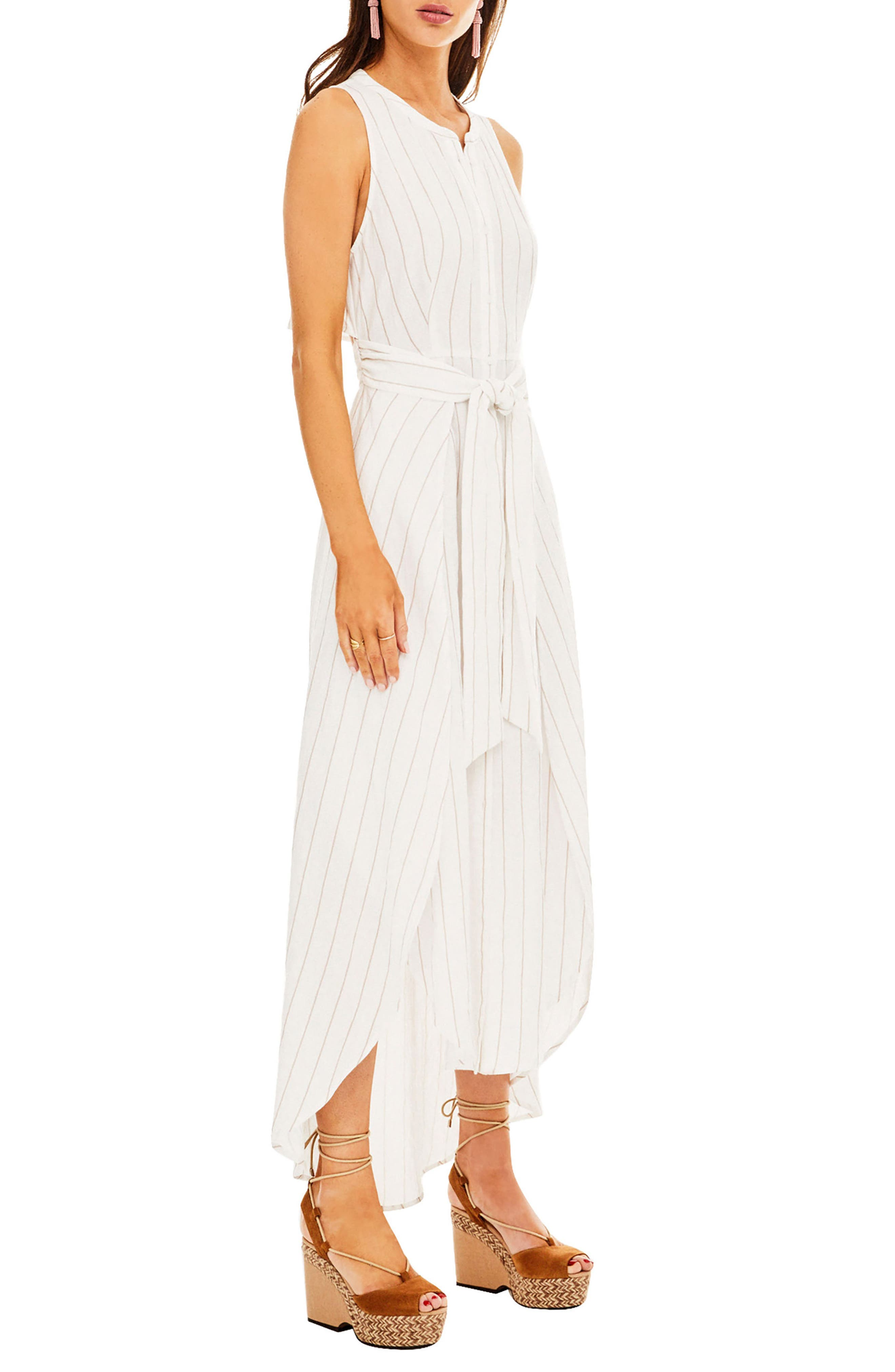 Maxi Dress,                             Alternate thumbnail 3, color,                             White-Taupe Stripe