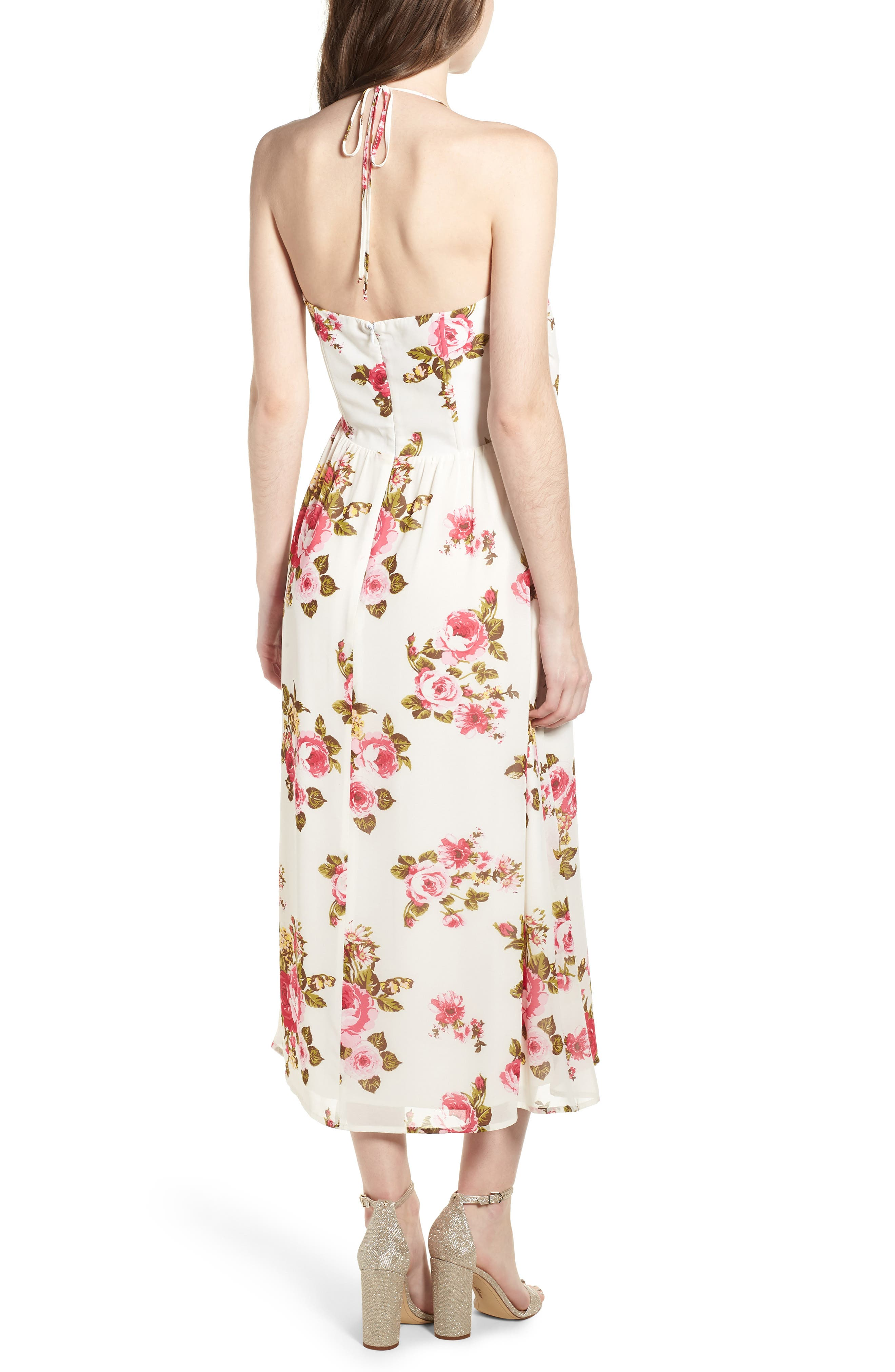 Floral Print Halter Midi Dress,                             Alternate thumbnail 2, color,                             Ivory Floral