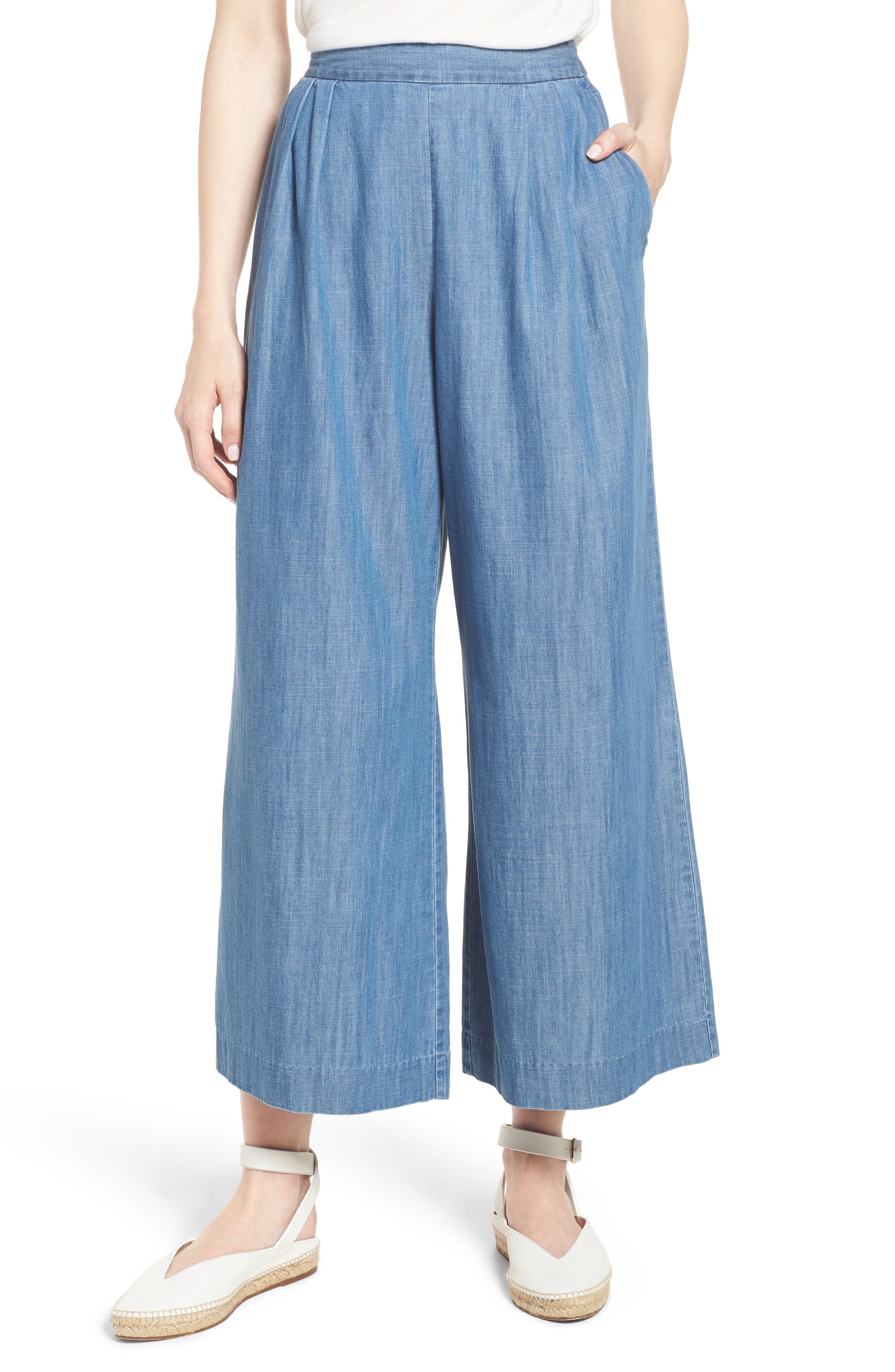 J.Crew Wide Leg Crop Chambray Pants (Regular & Petite)