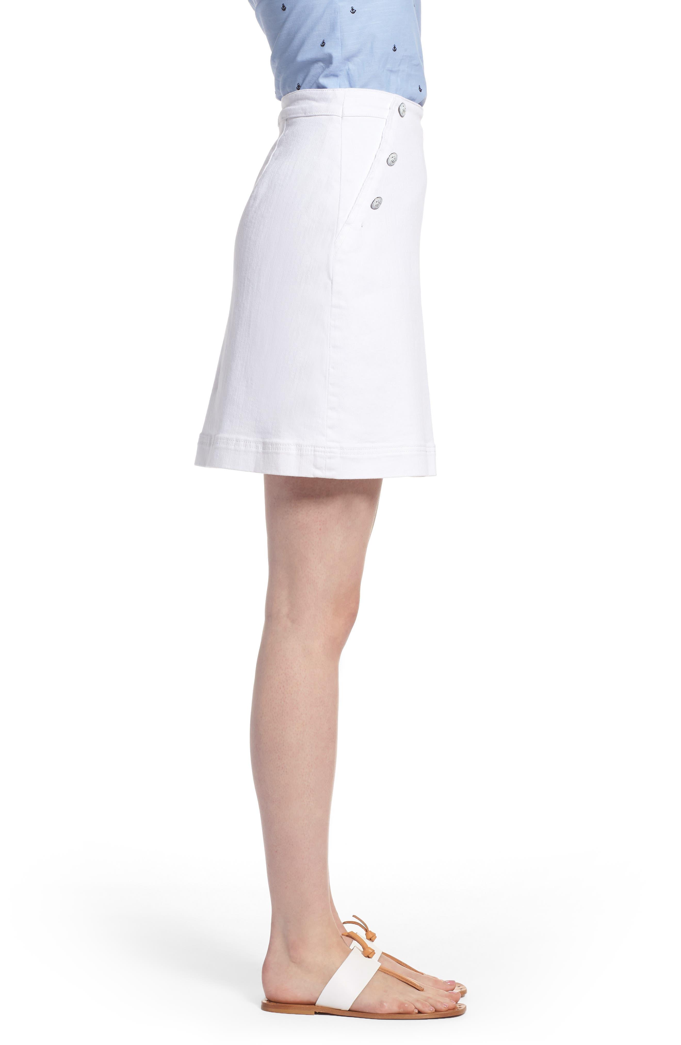 Sailor Button White Denim Skirt,                             Alternate thumbnail 3, color,                             White