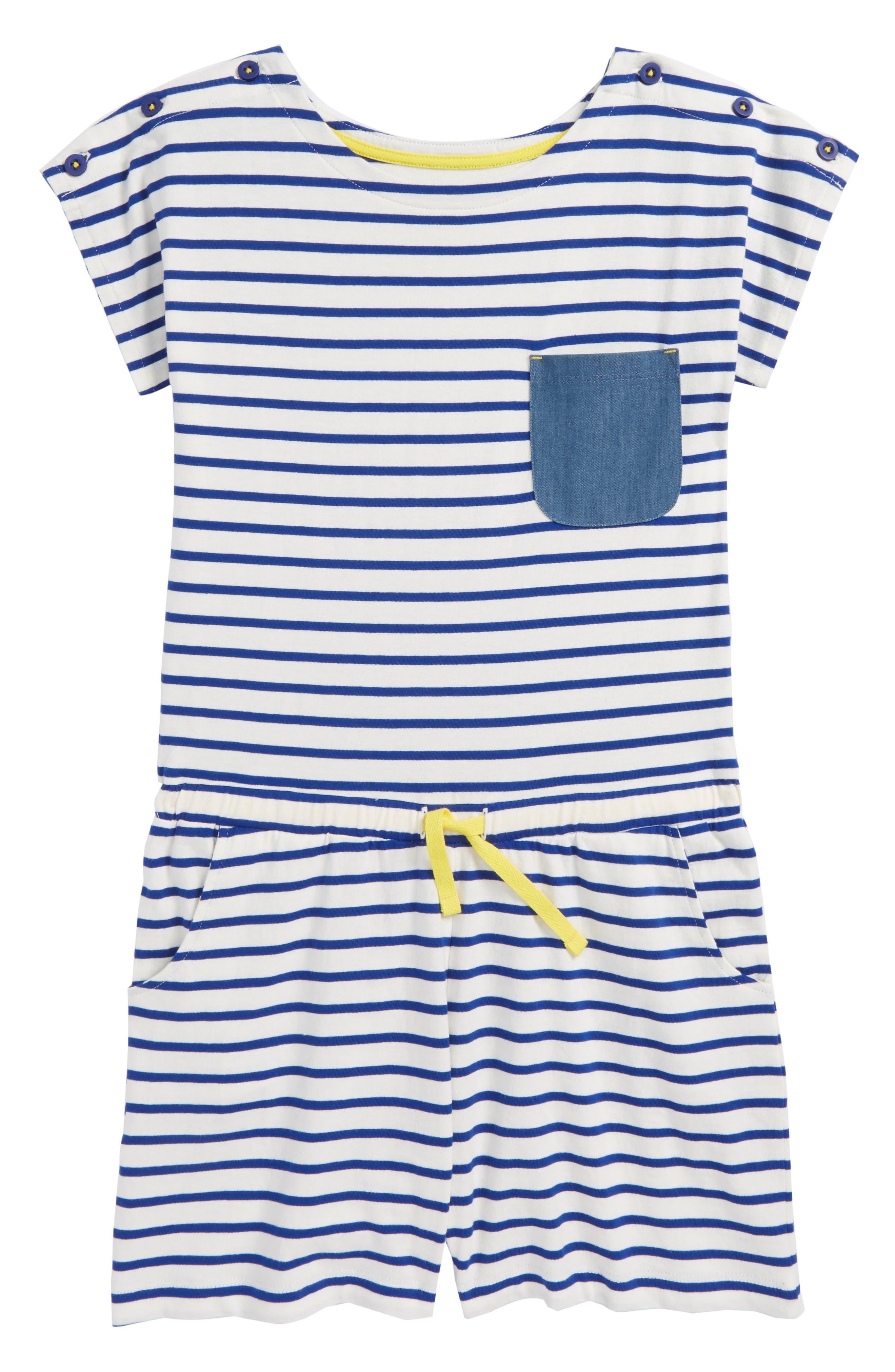 Stripe Cotton Romper,                             Main thumbnail 1, color,                             Ivory/ Orion Blue