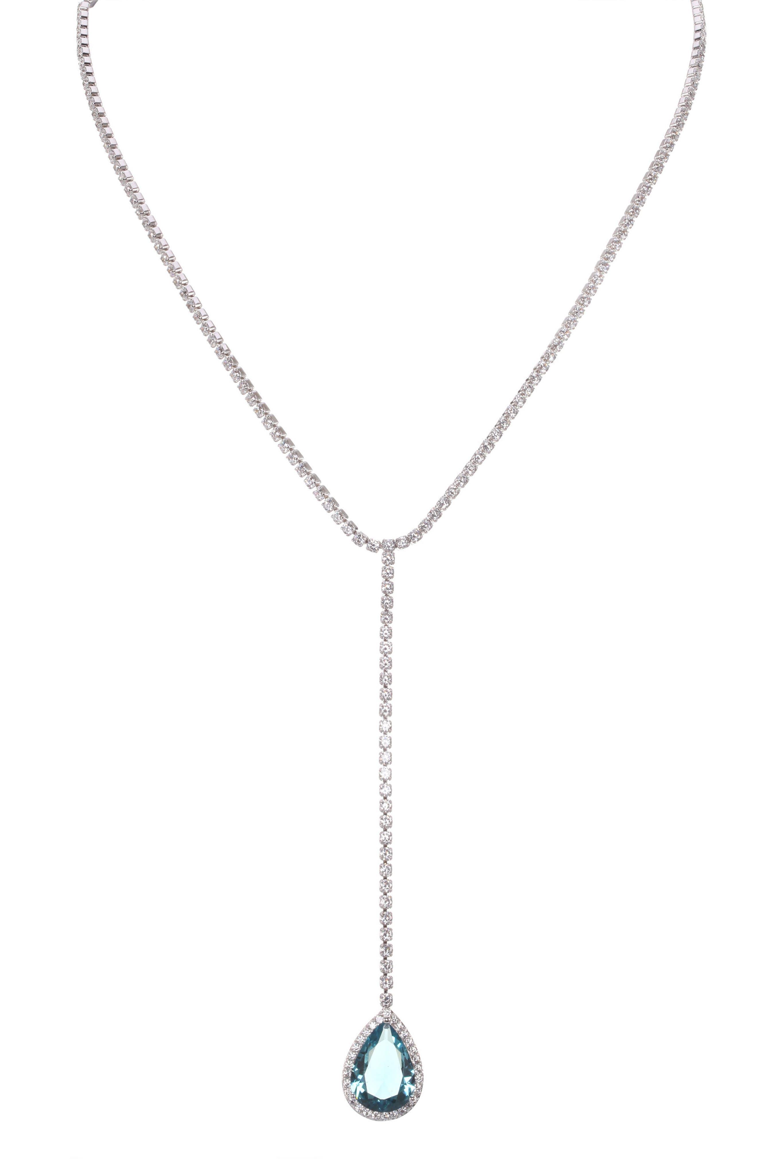 Nina Teardrop Cubic Zirconia Y-Shape Necklace