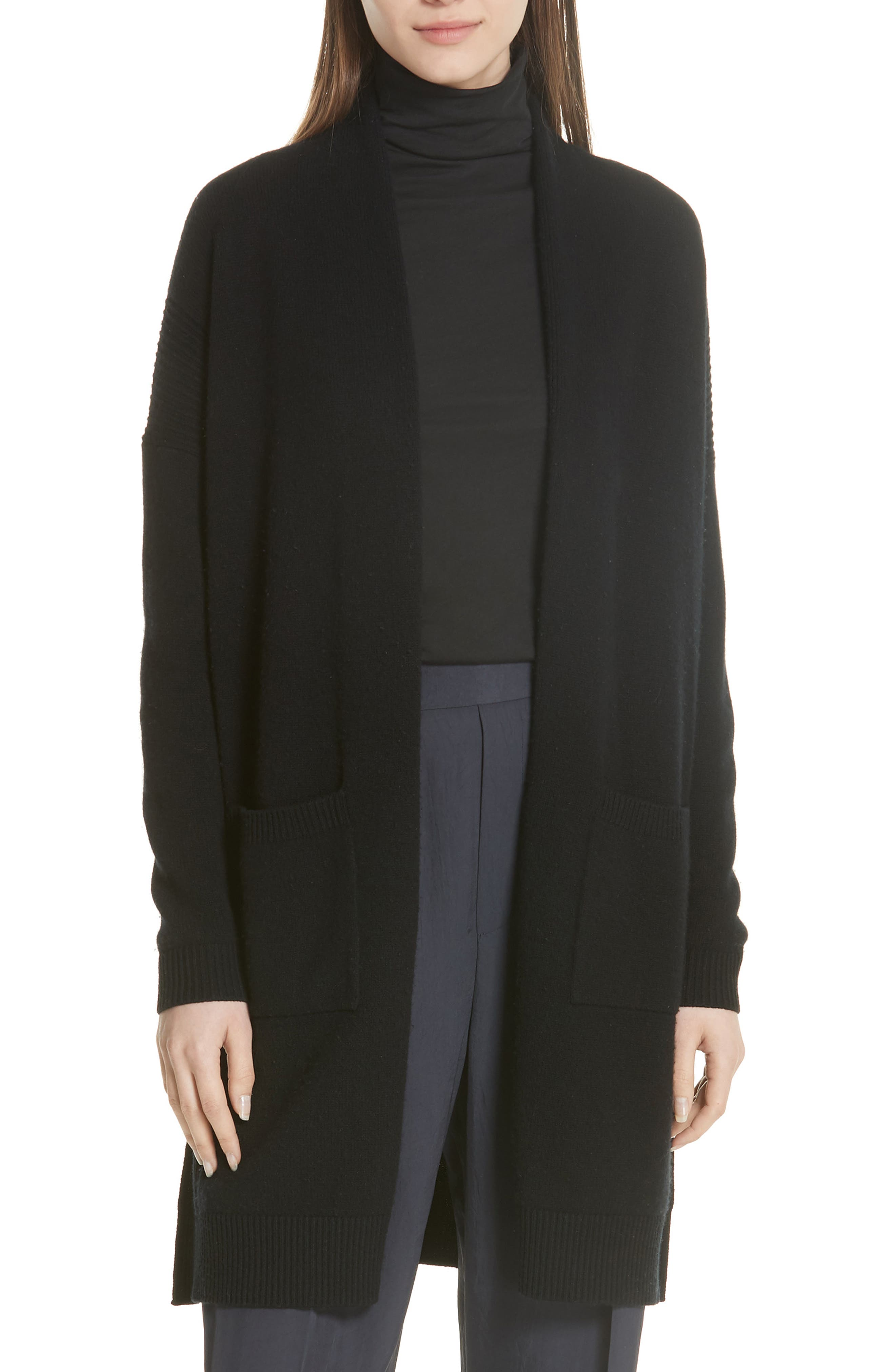Wool & Cashmere Split Hem Cardigan, Main, color, Black