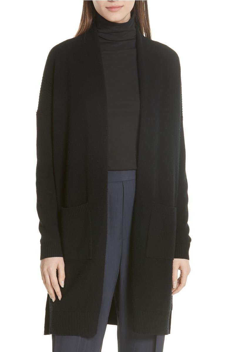Wool & Cashmere Split Hem Cardigan, Main, color, Black