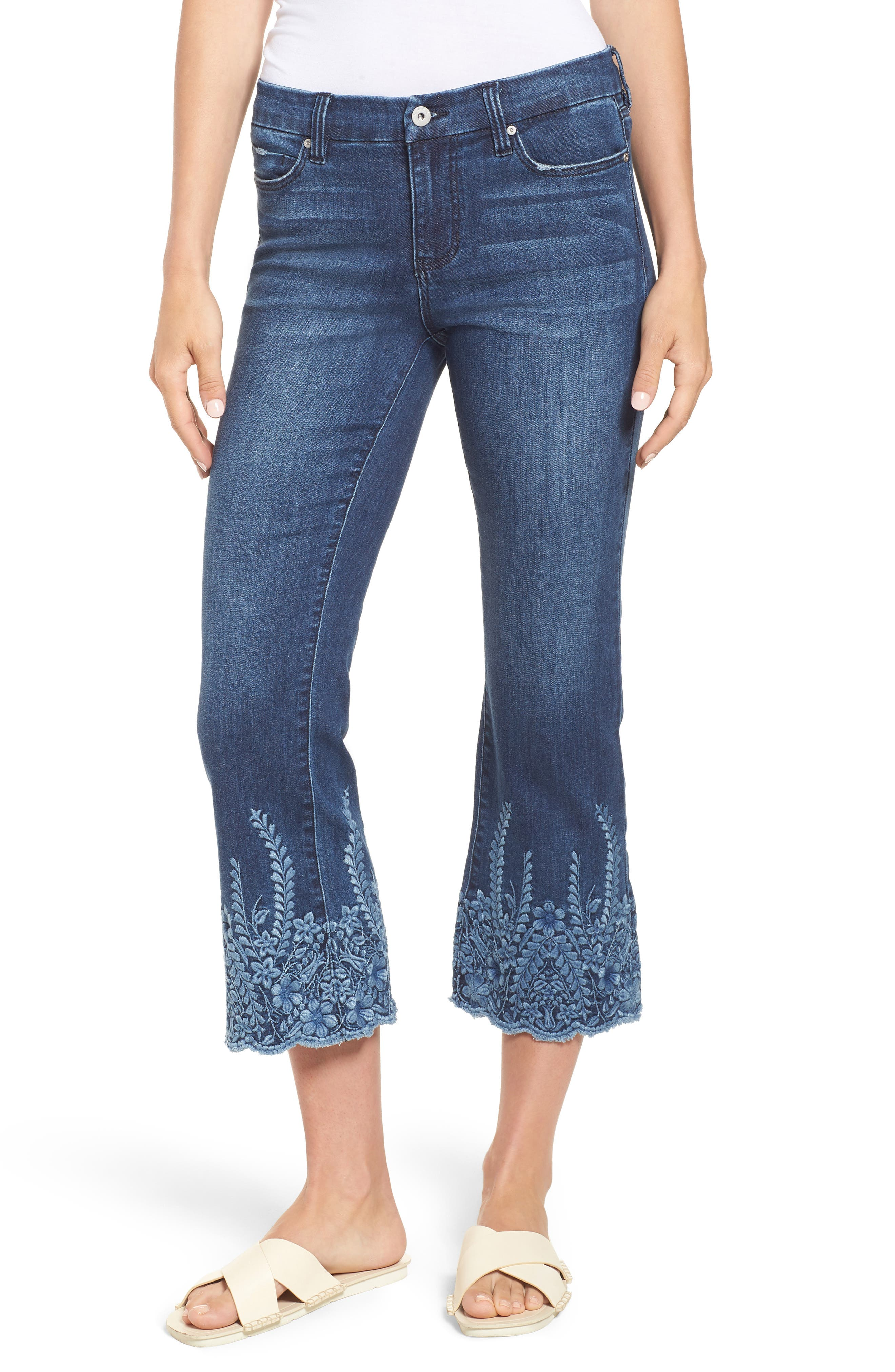 LVPL by Liverpool Coco Embroidered Hem Crop Jeans,                         Main,                         color, Willow Wash
