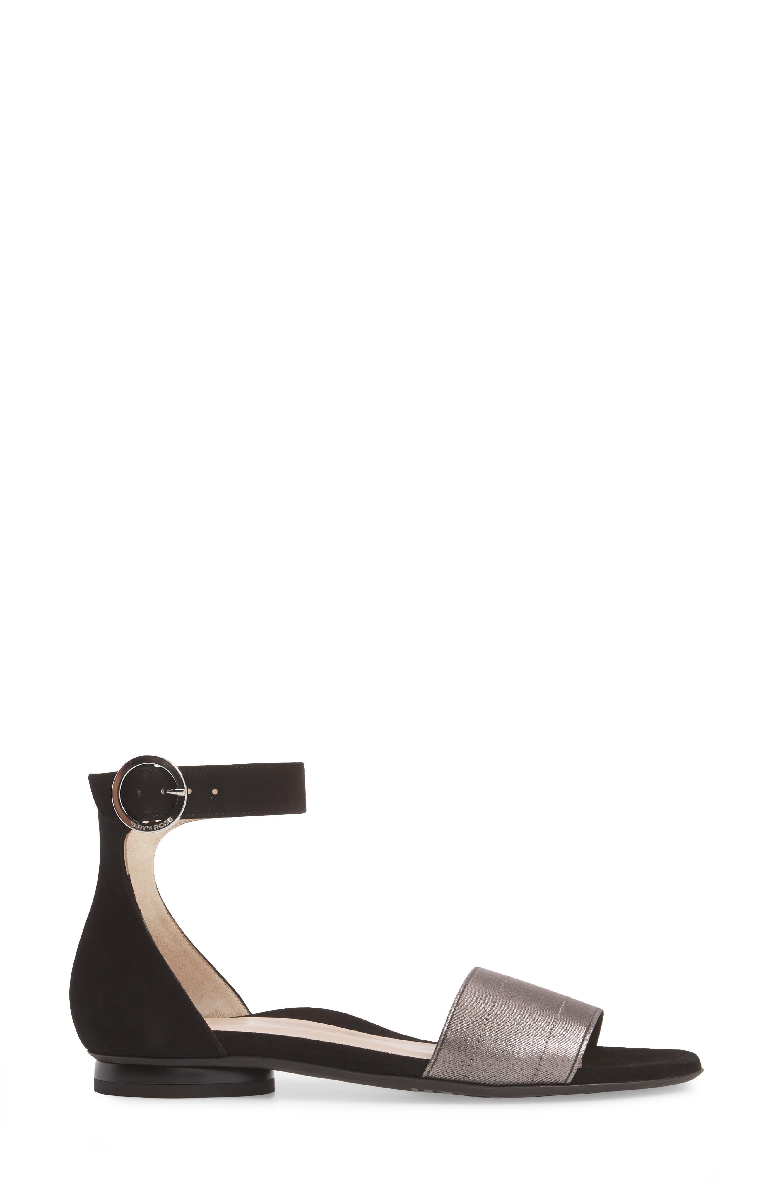 Donati Ankle Strap Sandal,                             Alternate thumbnail 3, color,                             Black/ Gunmetal Suede