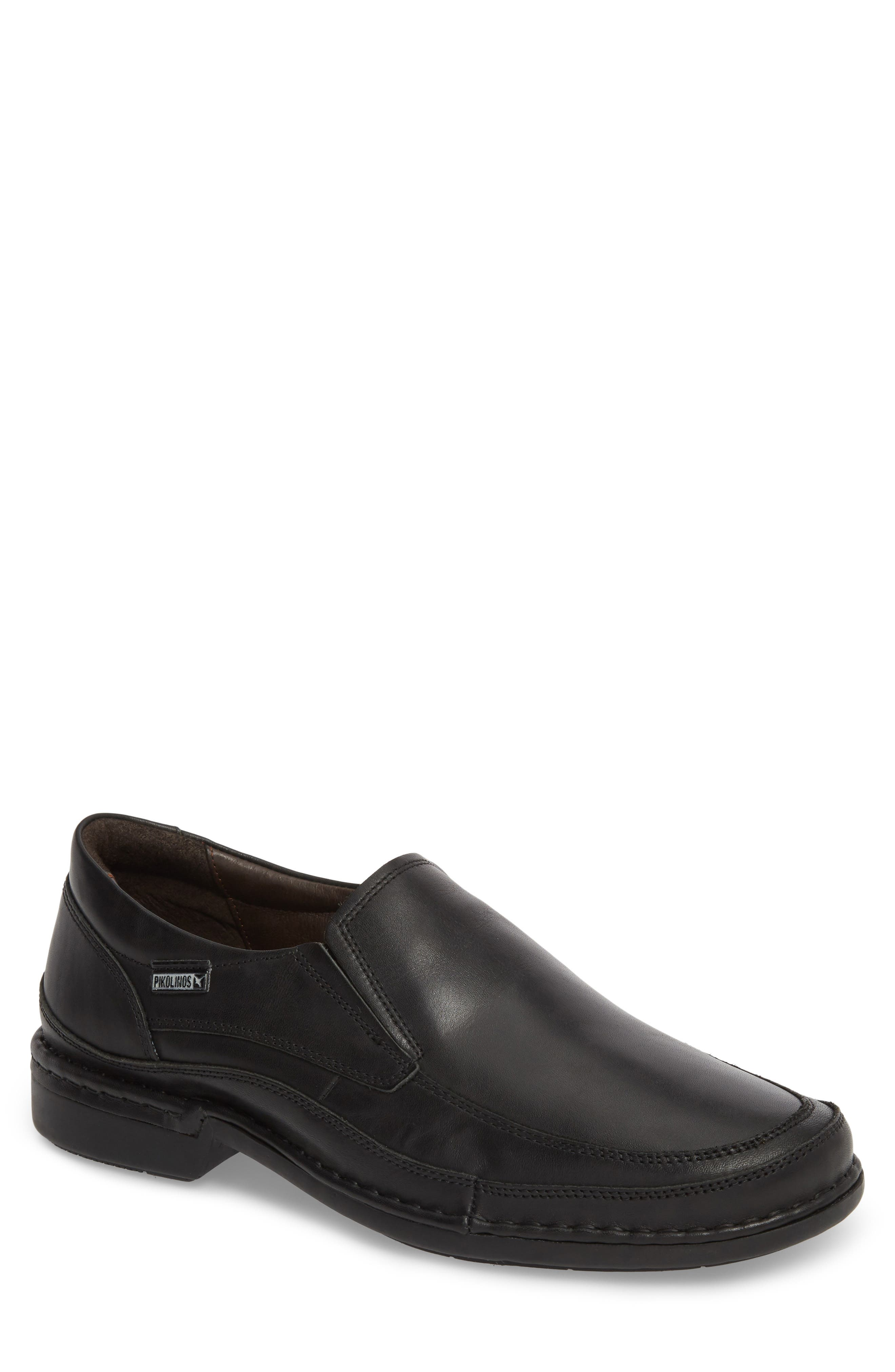 'Oviedo' Slip-On,                             Main thumbnail 1, color,                             Black Leather