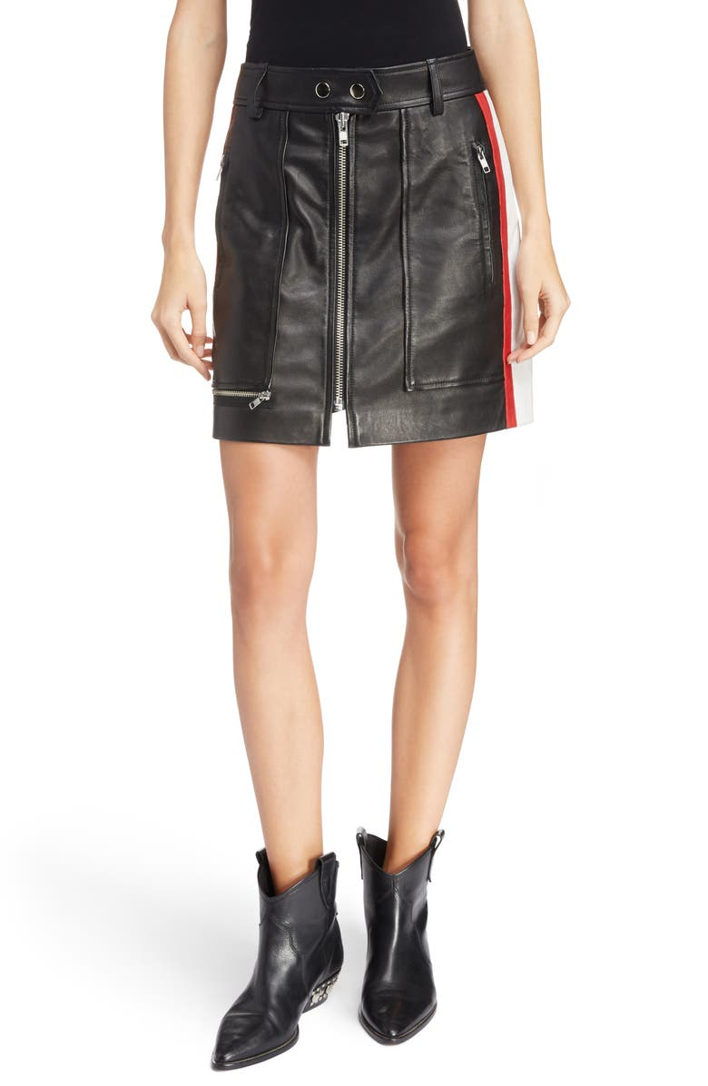 Isabel Marant ?toile Alynne Side Stripe Leather Miniskirt
