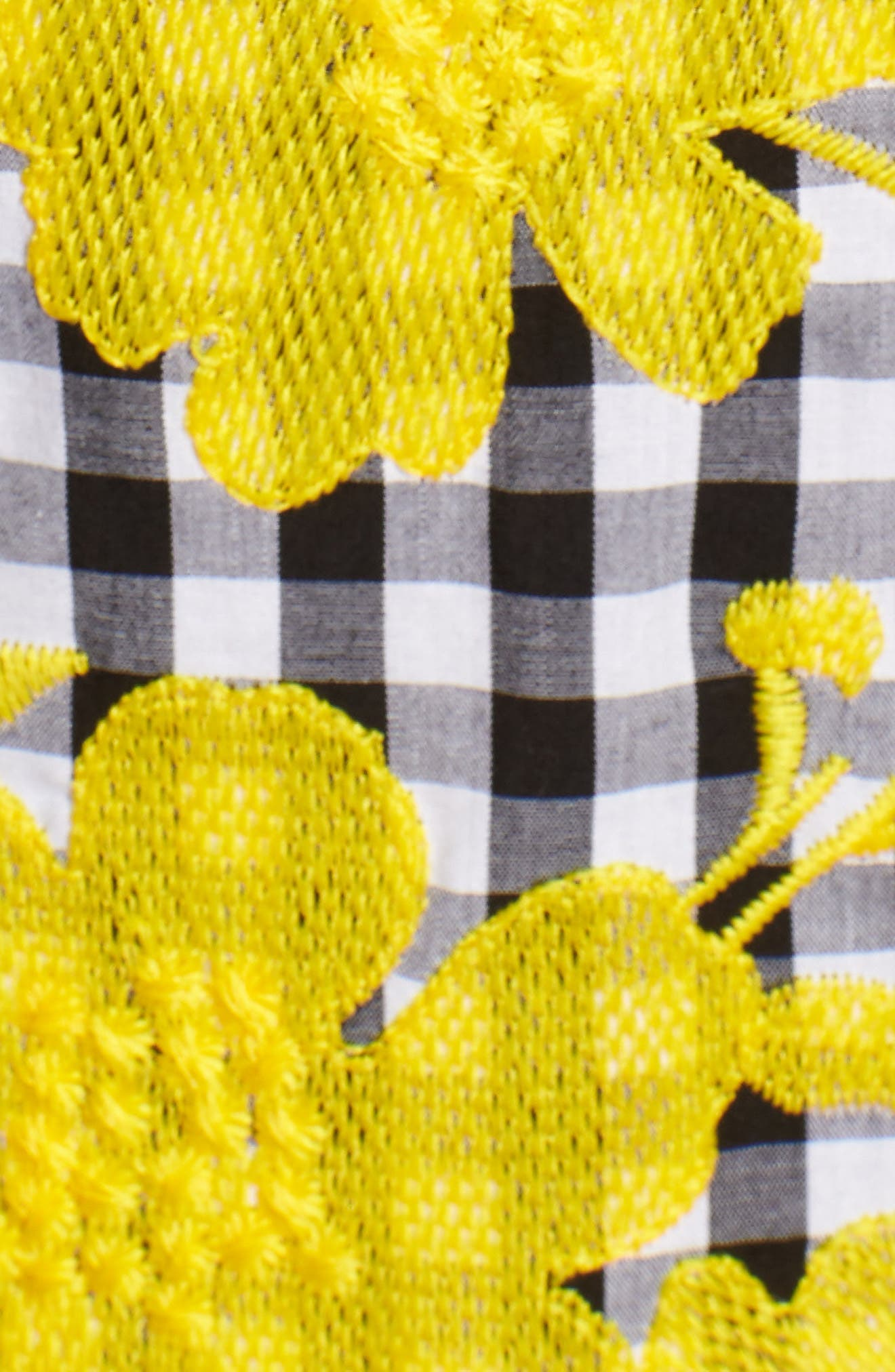 Embroidered Cross Back Cotton Gingham Dress,                             Alternate thumbnail 6, color,                             Yellow- Black Gingham