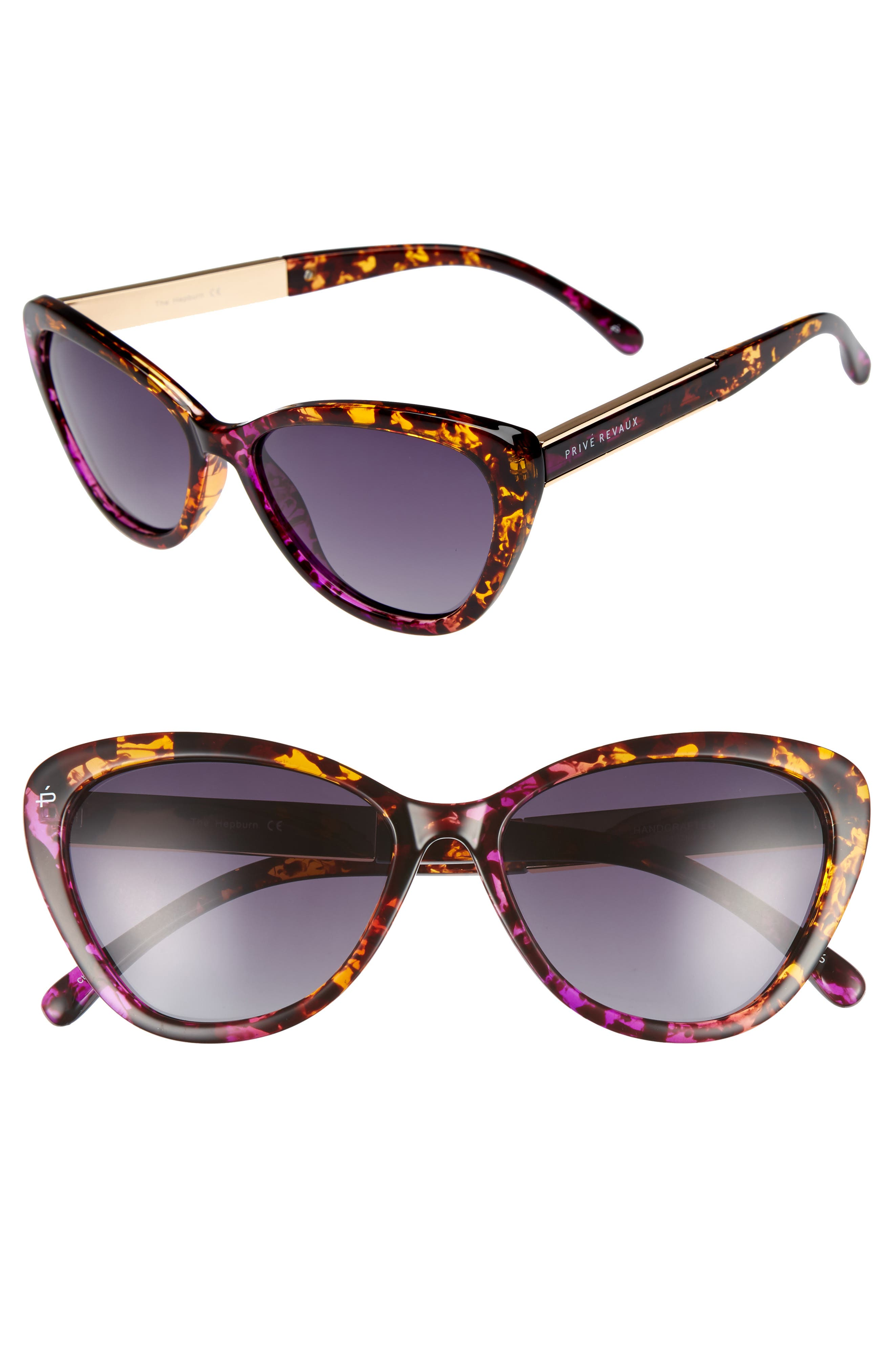Privé Revaux The Hepburn 56mm Cat Eye Sunglasses,                             Main thumbnail 1, color,                             Purple