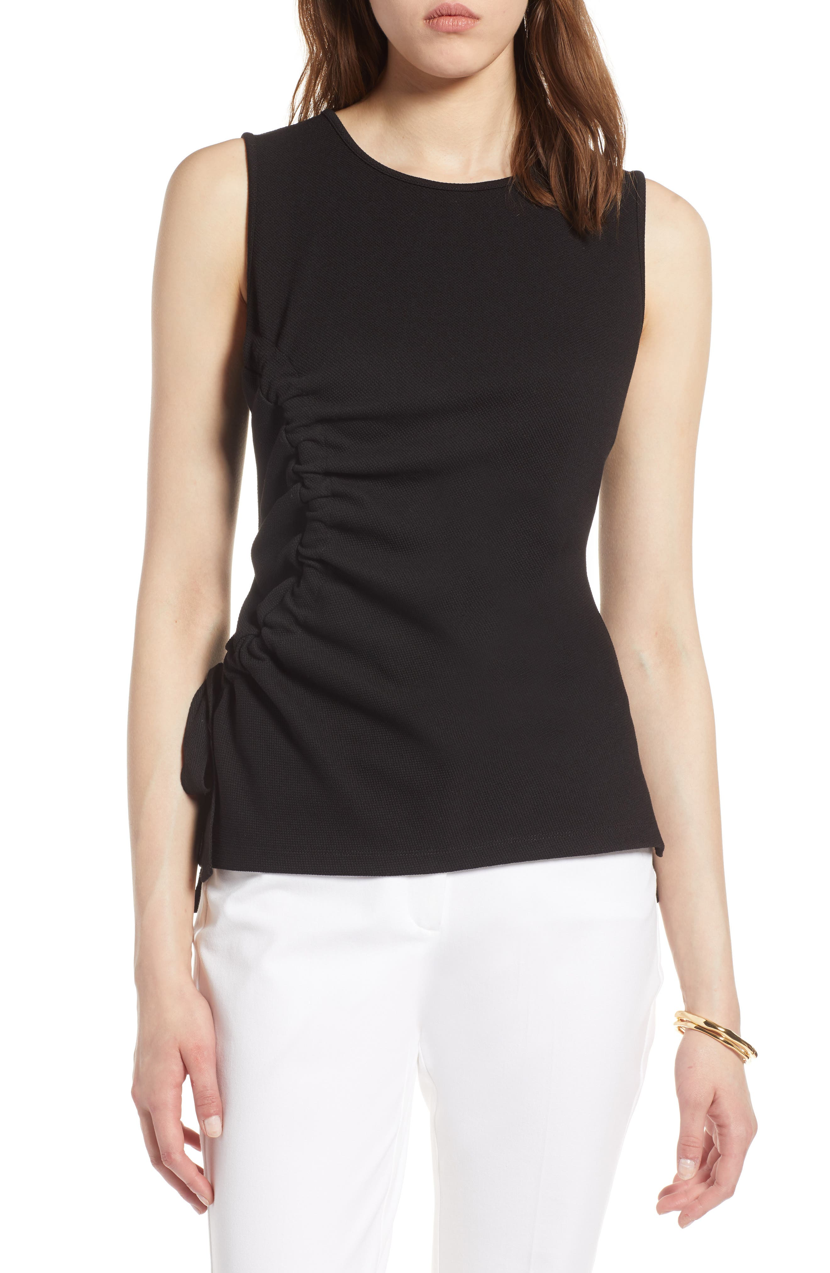 Ruched Tank Top,                         Main,                         color, Black