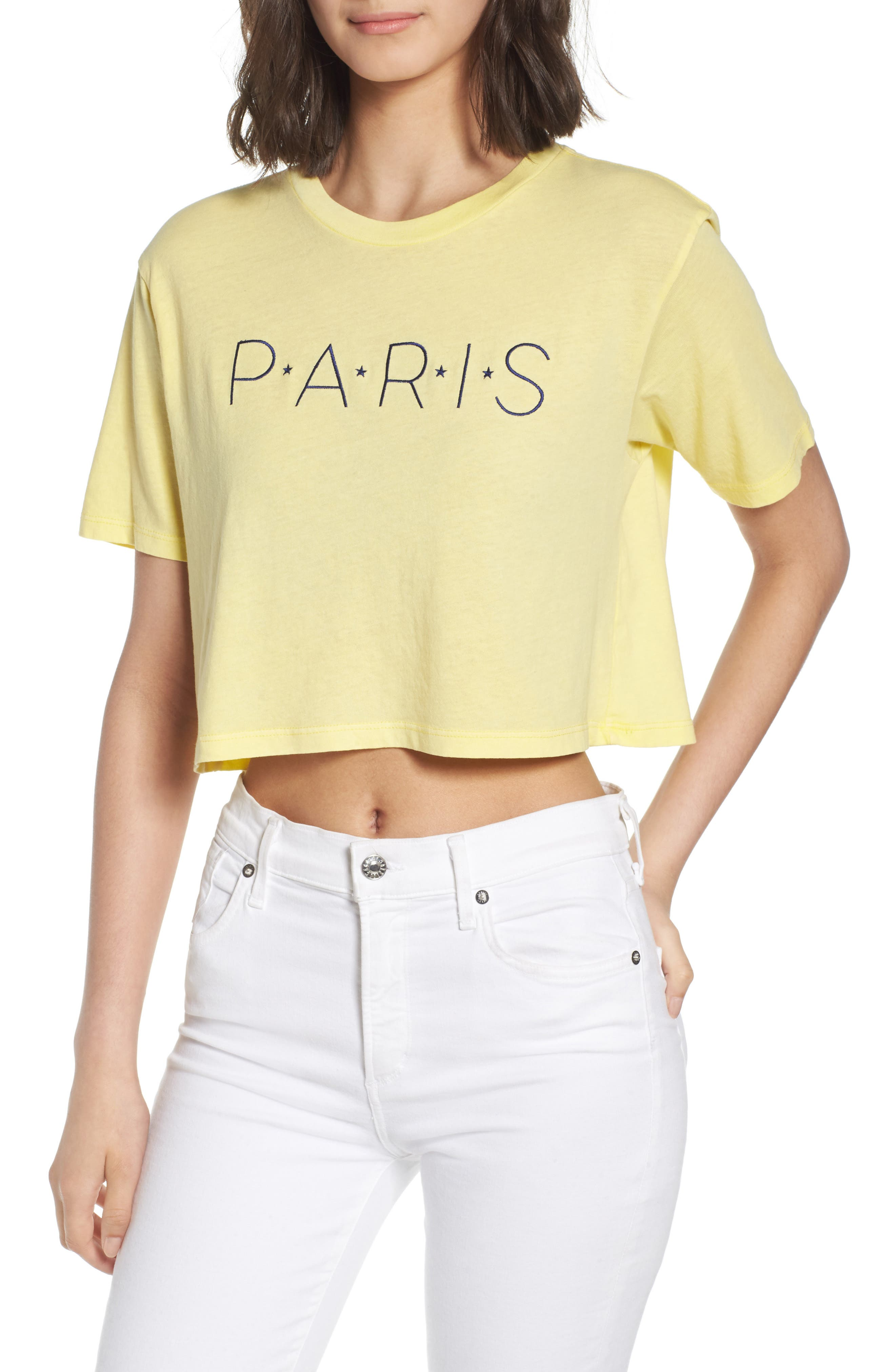 Paris Crop Tee,                         Main,                         color, Washed Yellow