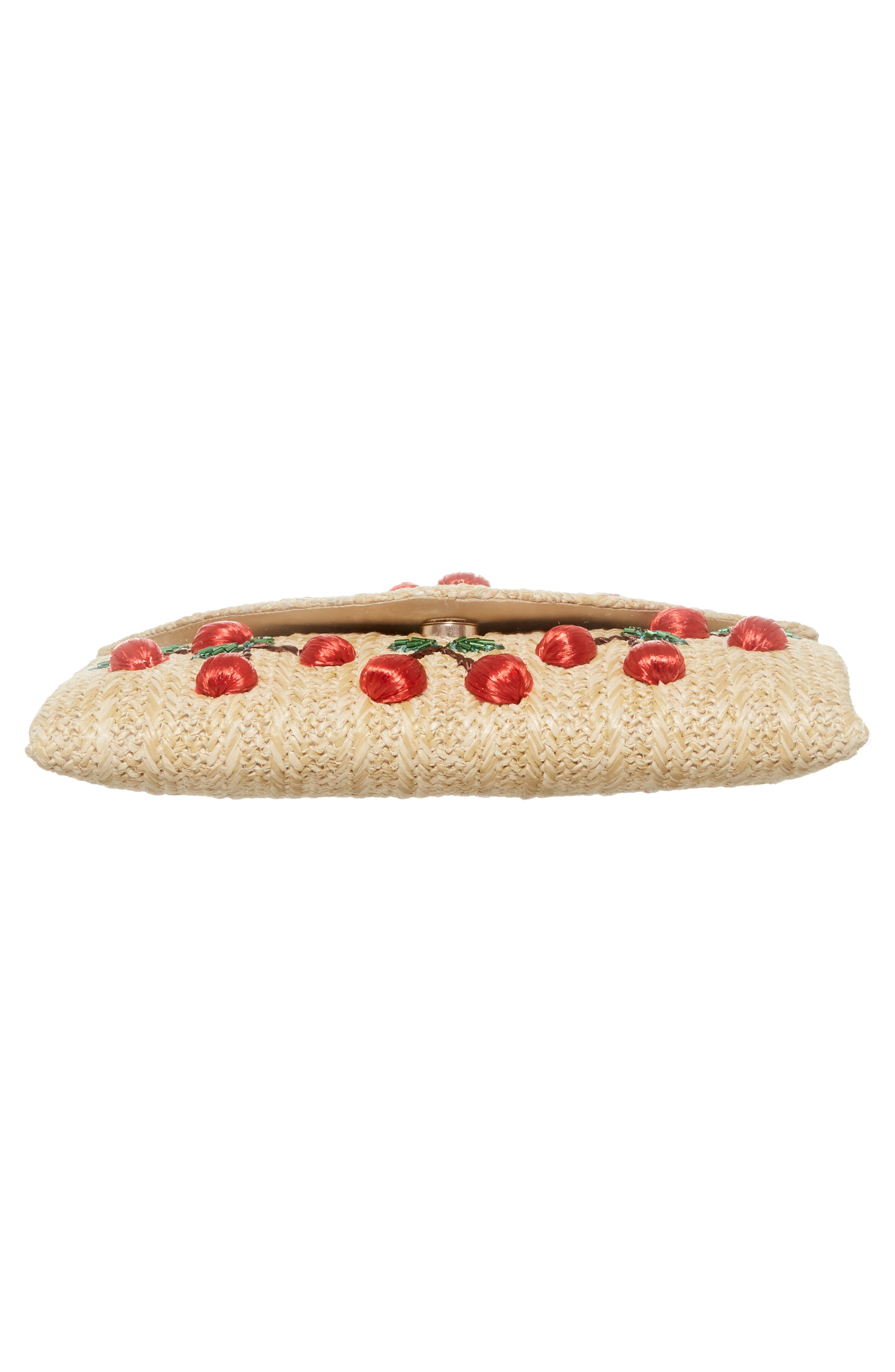 Cherry Embellished Straw Envelope Clutch,                             Alternate thumbnail 6, color,                             Natural