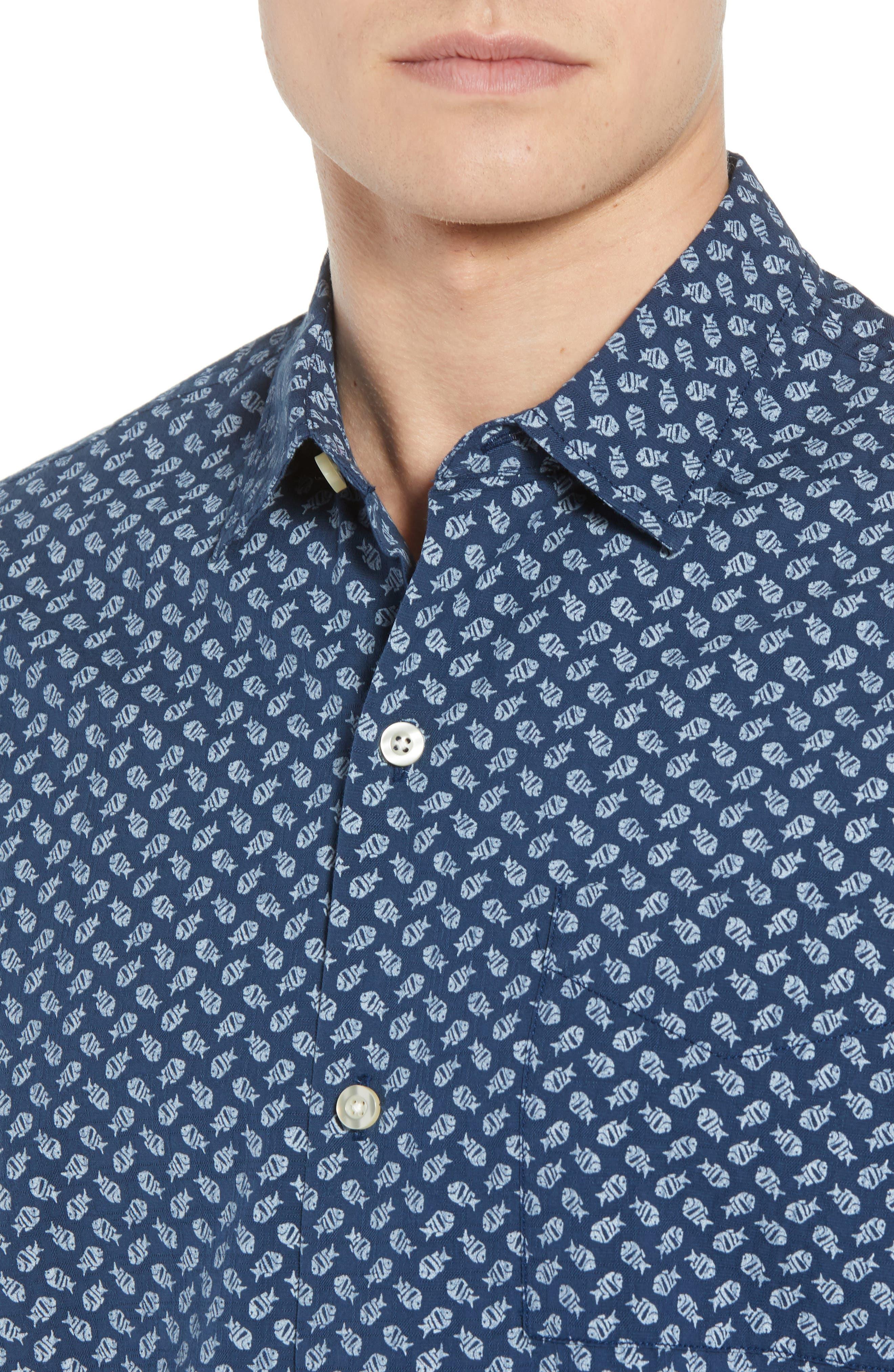 A-Fish-ianado Cotton & Silk Camp Shirt,                             Alternate thumbnail 2, color,                             Ocean Deep