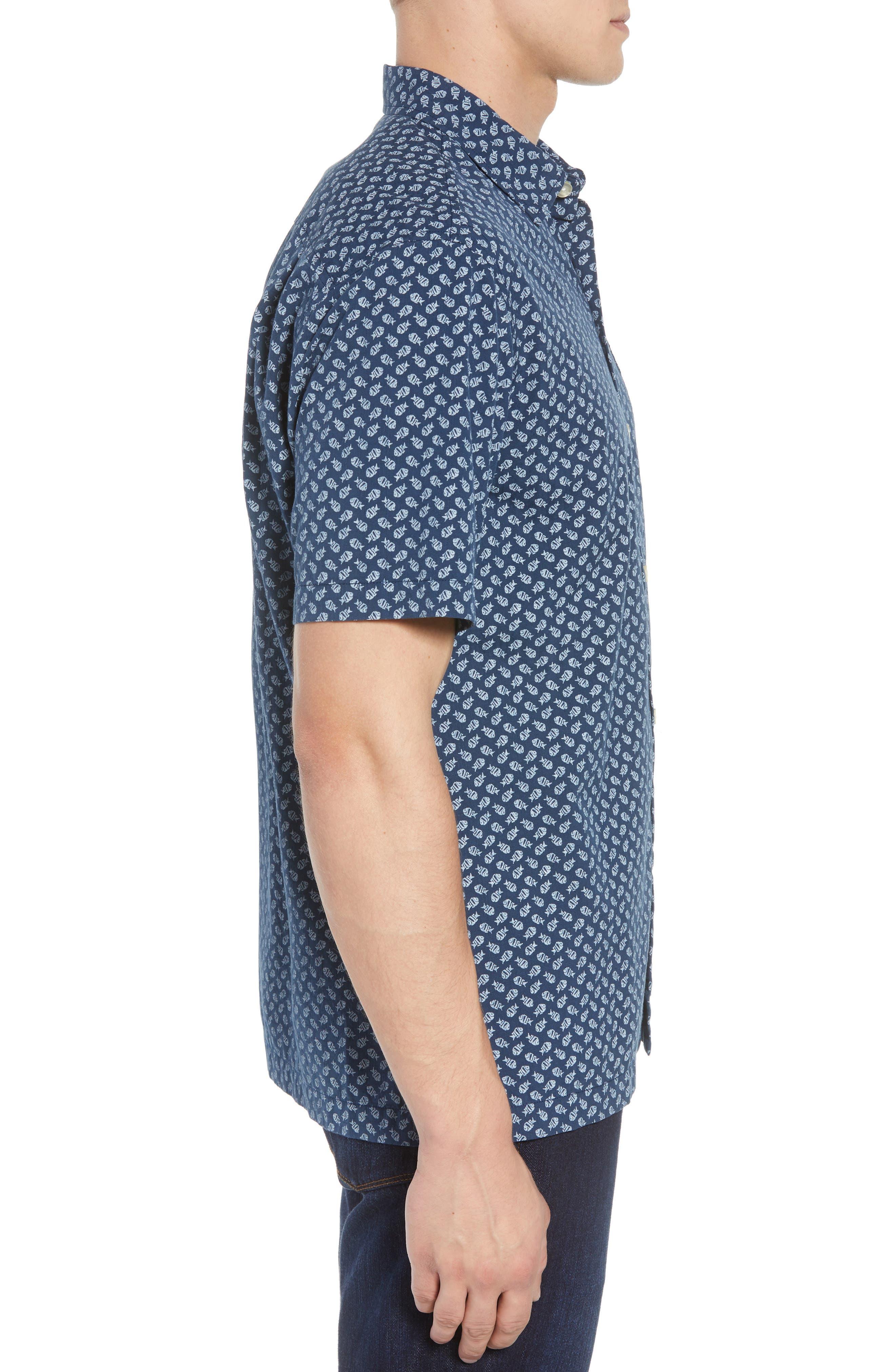 A-fish-ianado Cotton & Silk Camp Shirt,                             Alternate thumbnail 4, color,                             Ocean Deep