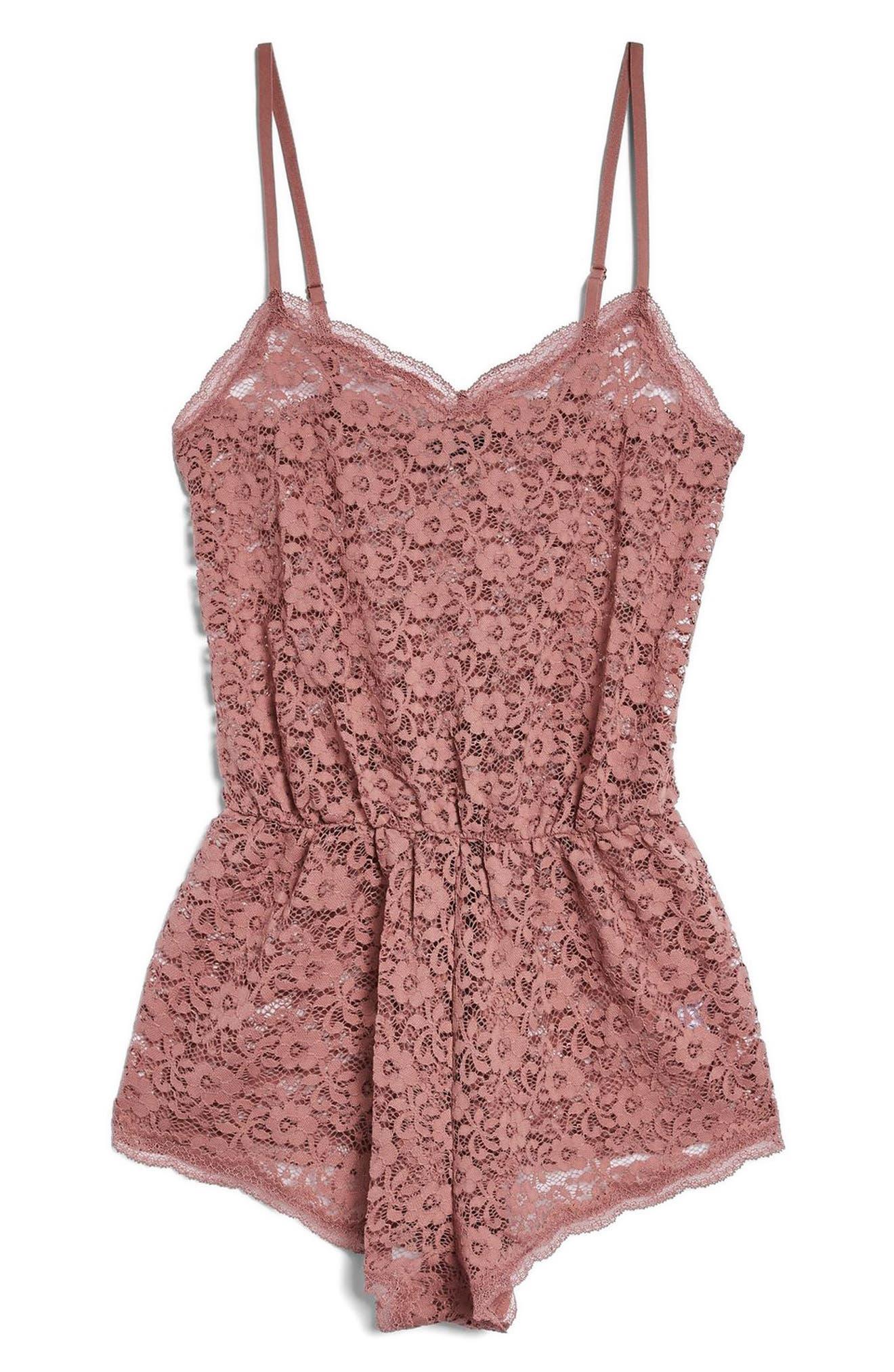 Lace Bodysuit,                         Main,                         color, Pink